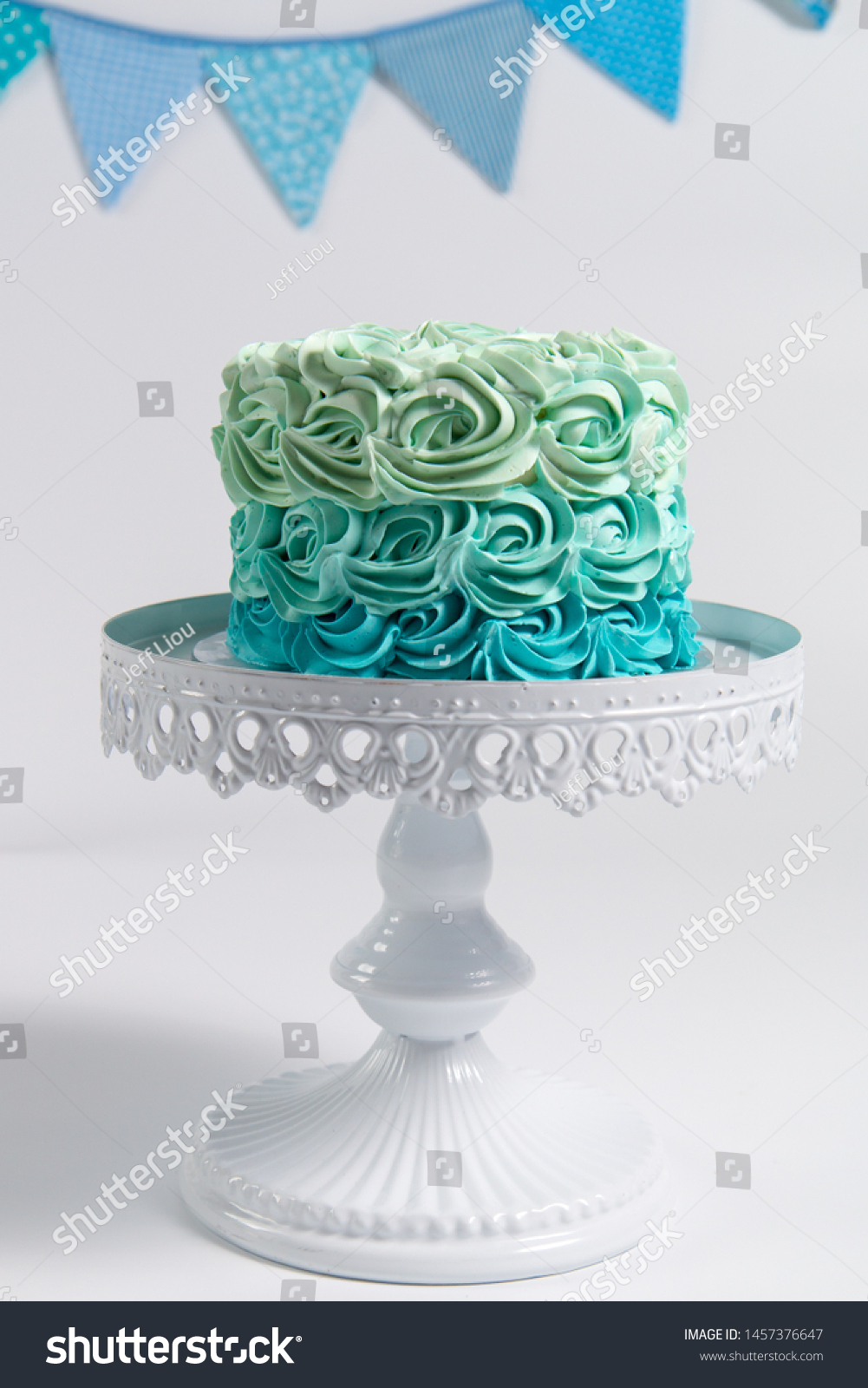 Stupendous Birthday Cake On Stand Cake Smash Stock Photo Edit Now 1457376647 Funny Birthday Cards Online Kookostrdamsfinfo