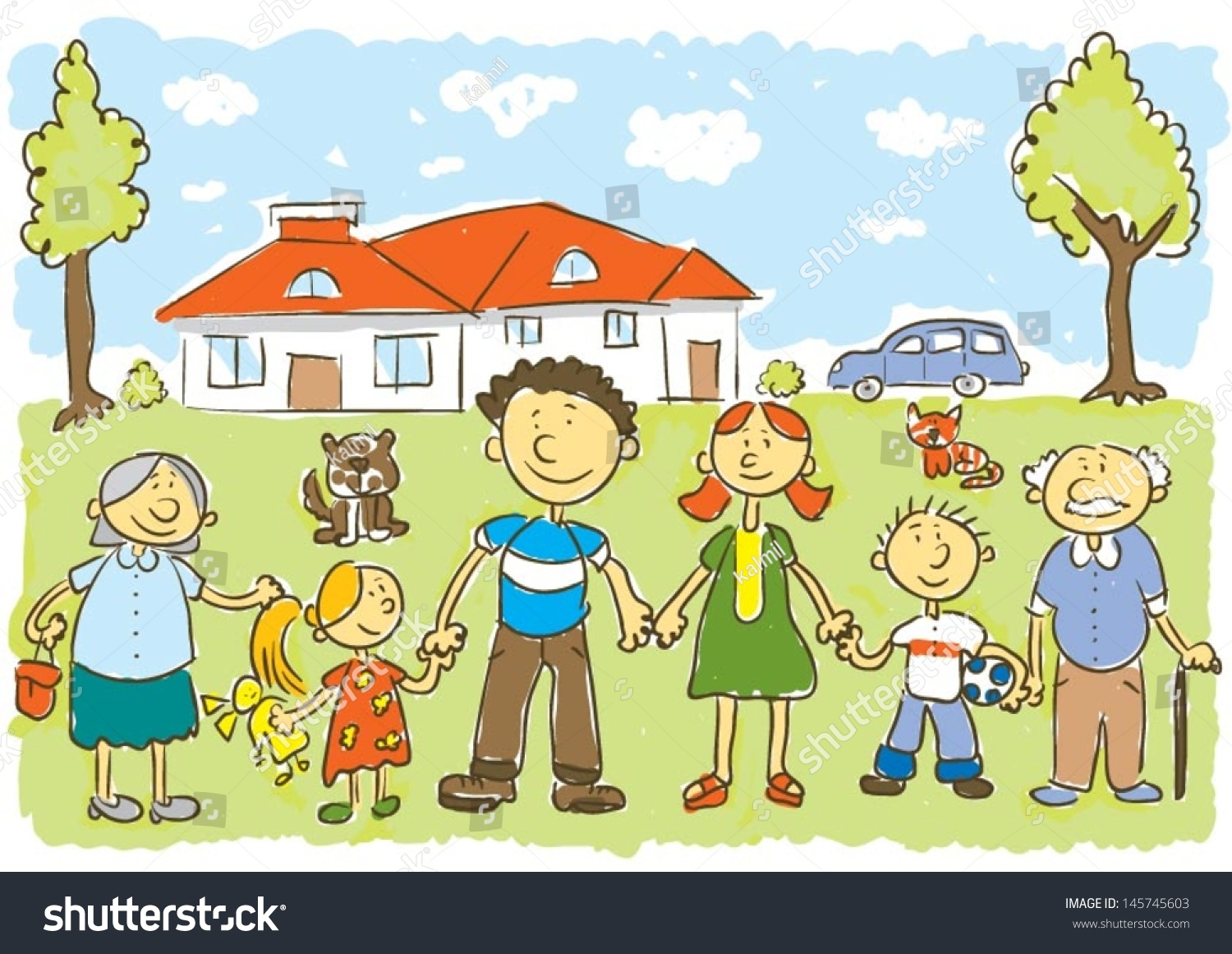 Happy Familychilds Hand Drawing Vector Illustration Stock ...