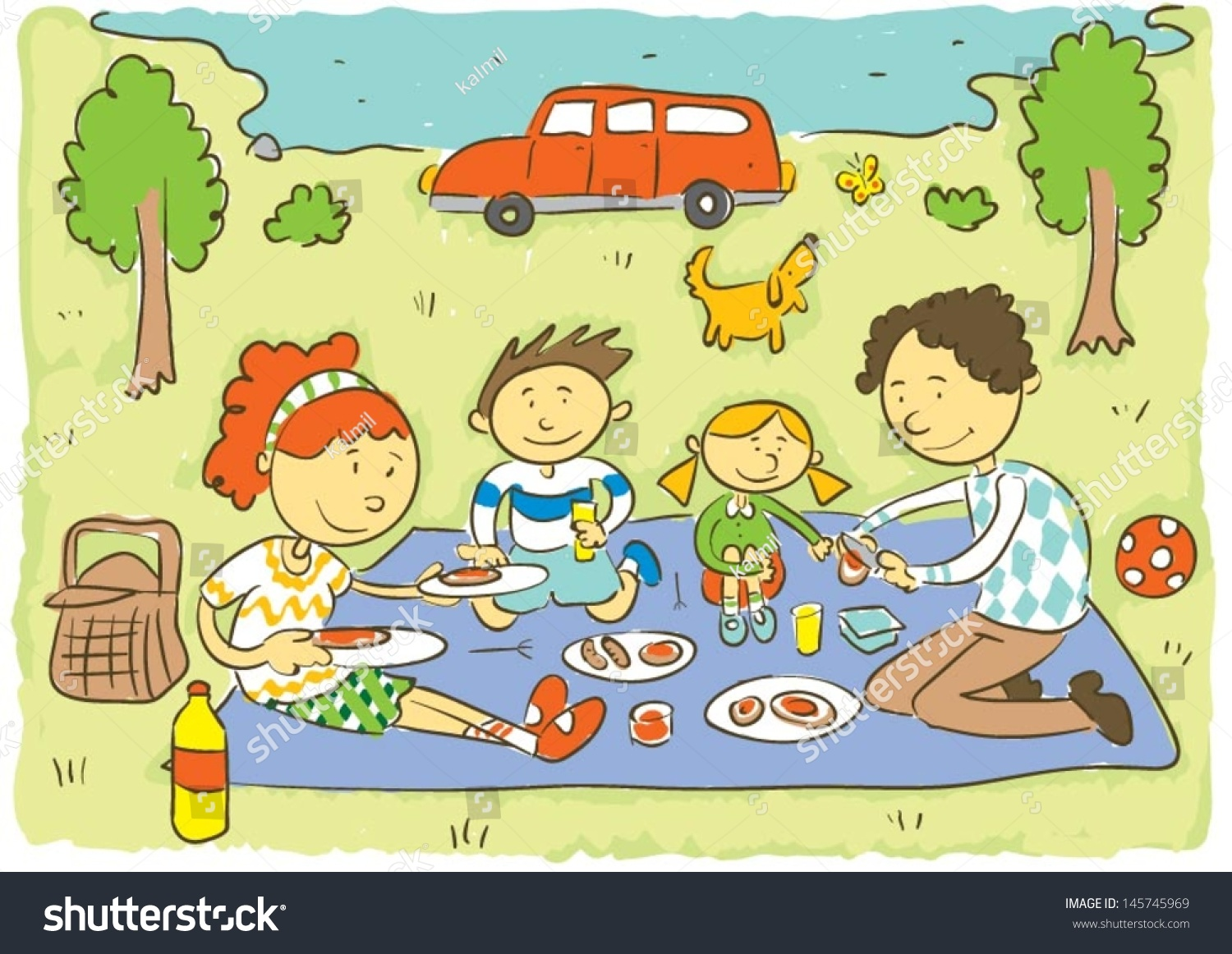 Family Picnicchilds Hand Drawing Vector Illustration Stock