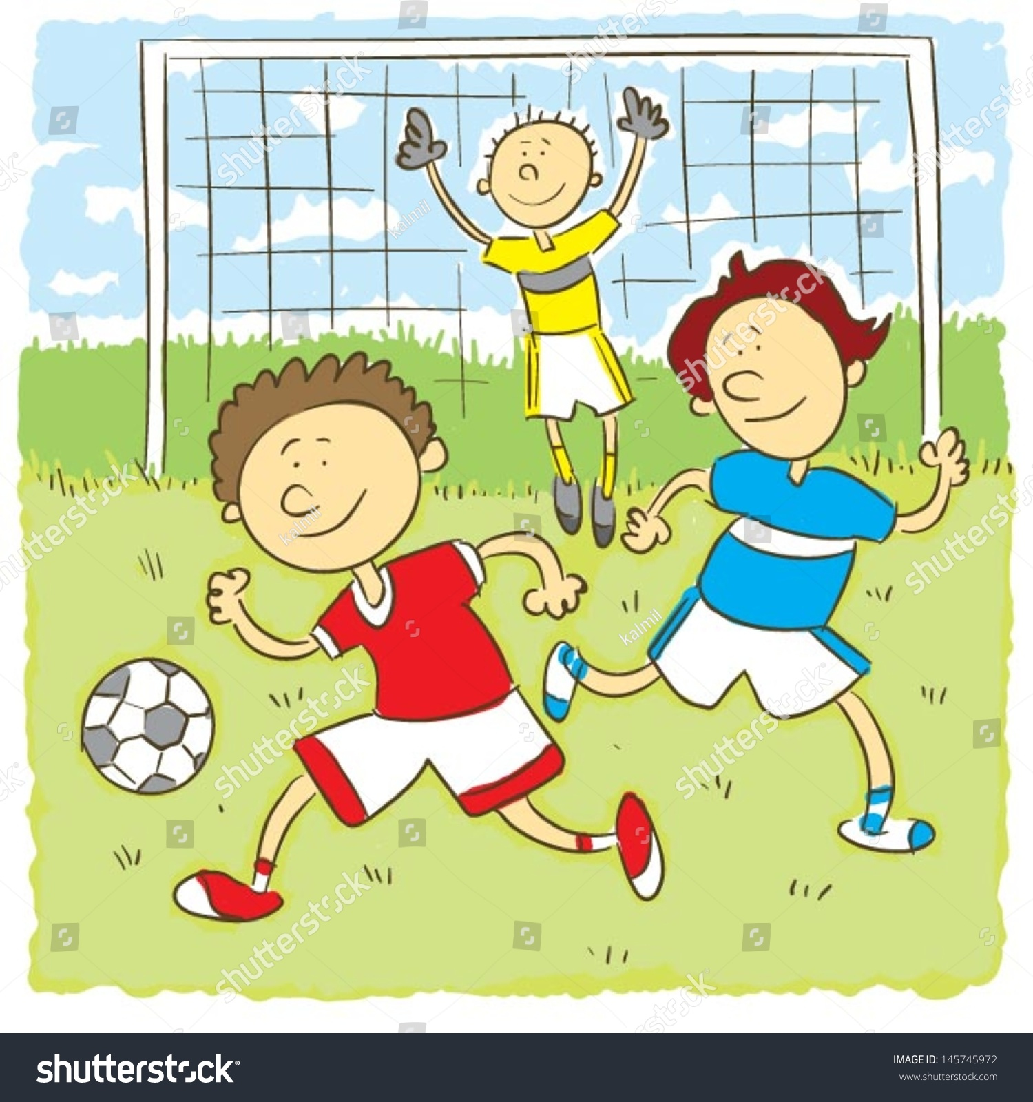 kids playing soccerchilds hand drawing vector illustration on happy child playing football