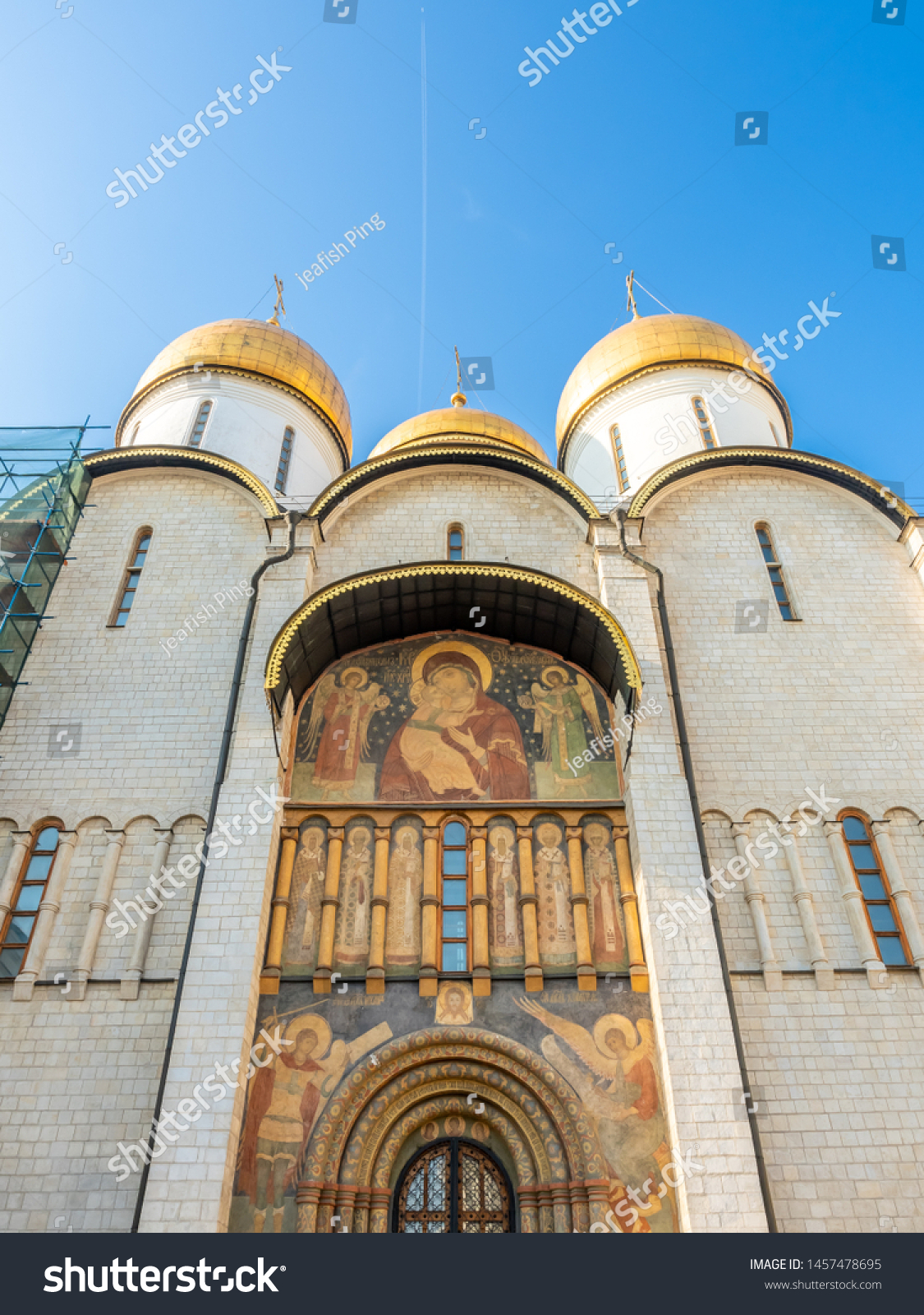 Dormition cathedral, or Cathedral of Assumption, in Cathedral square in Moscow Kremlin, summer season, in Moscow, Russia #1457478695