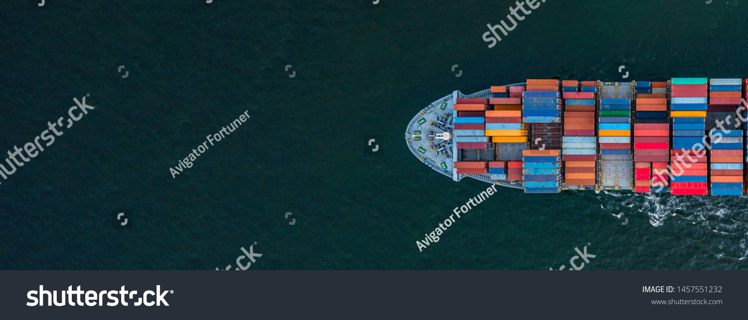 Container ship carrying container for import and export, business logistic and transportation by container ship in open sea, Aerial view container cargo ship with copy space for design banner web #1457551232