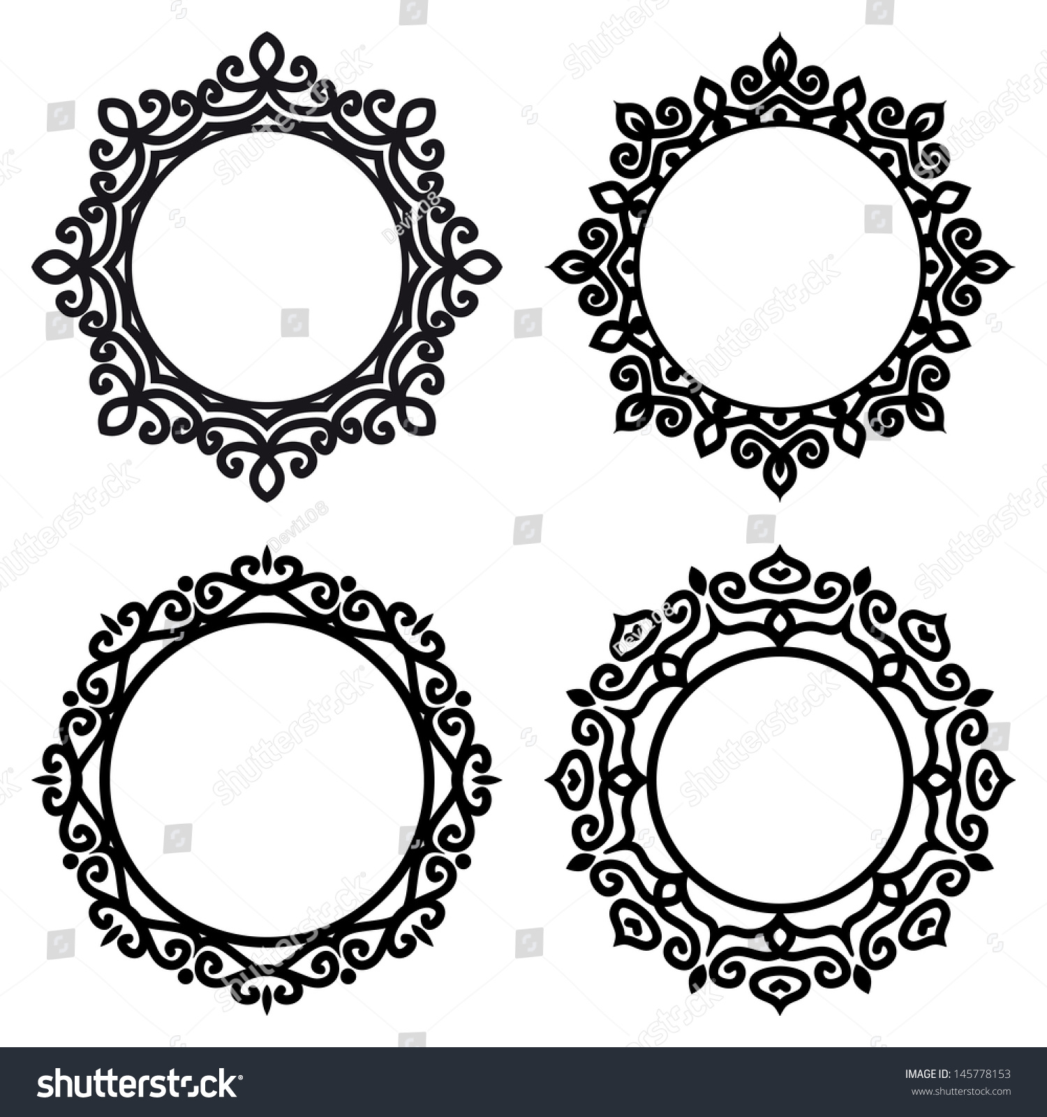 set of circle ornate frames