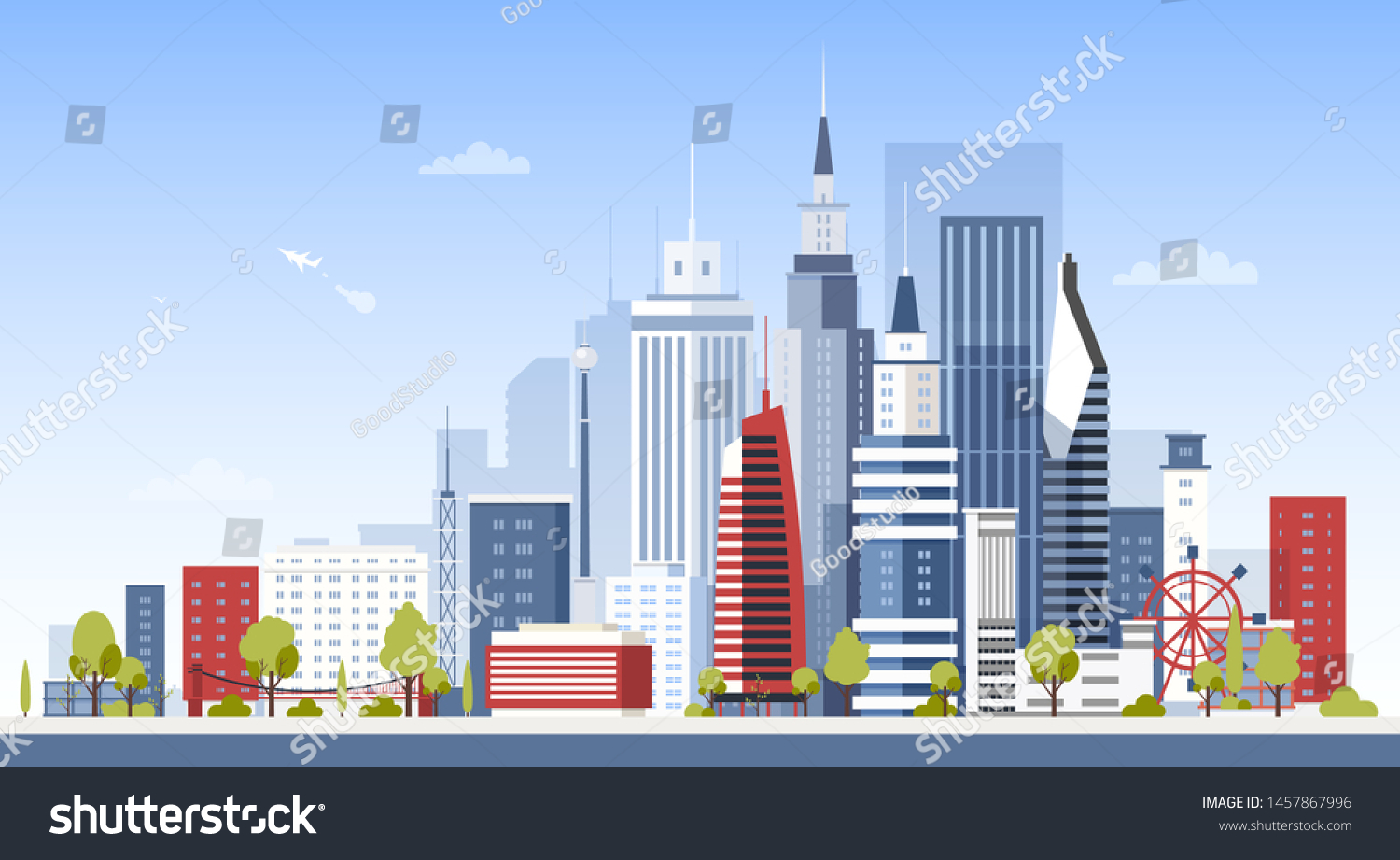 Cityscape City Downtown Buildings Panoramic View Stock Vector ...