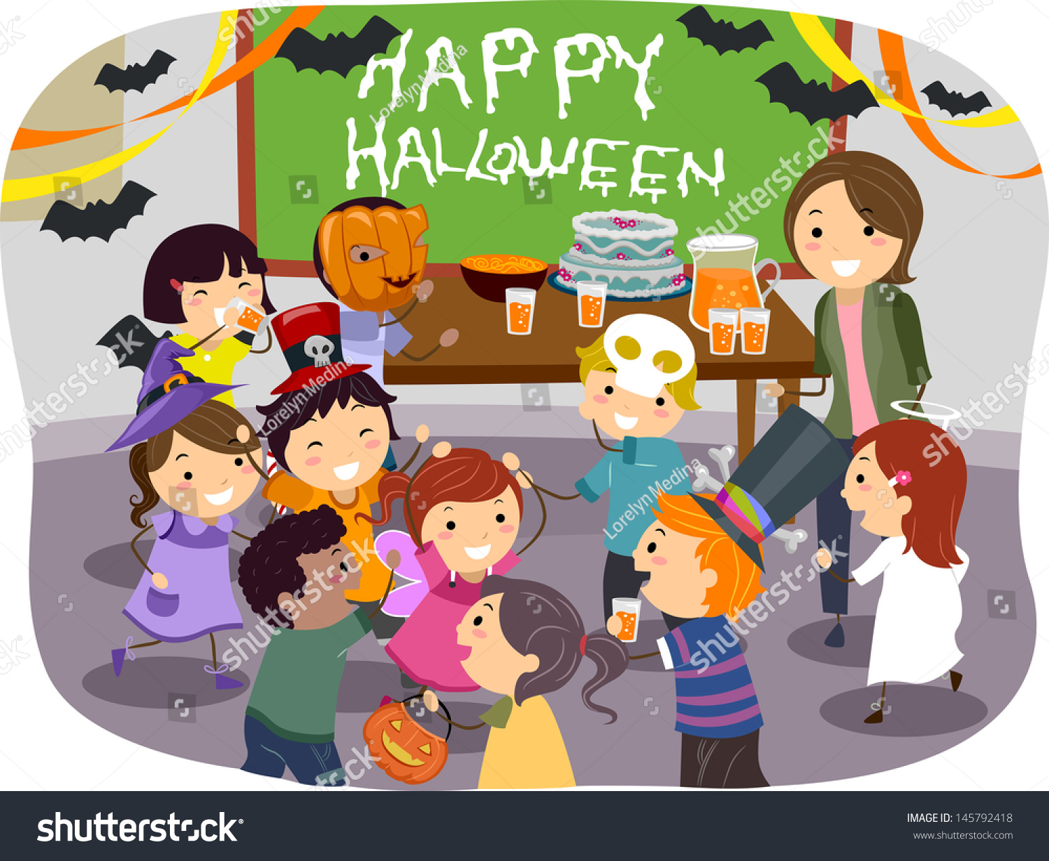 illustration stickman kids having halloween party stock vector