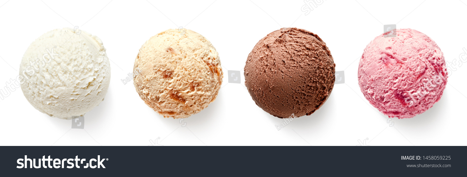 Set of four various ice cream balls or scoops isolated on white background. Top view. Vanilla, strawberry, chocolate and caramel flavor #1458059225