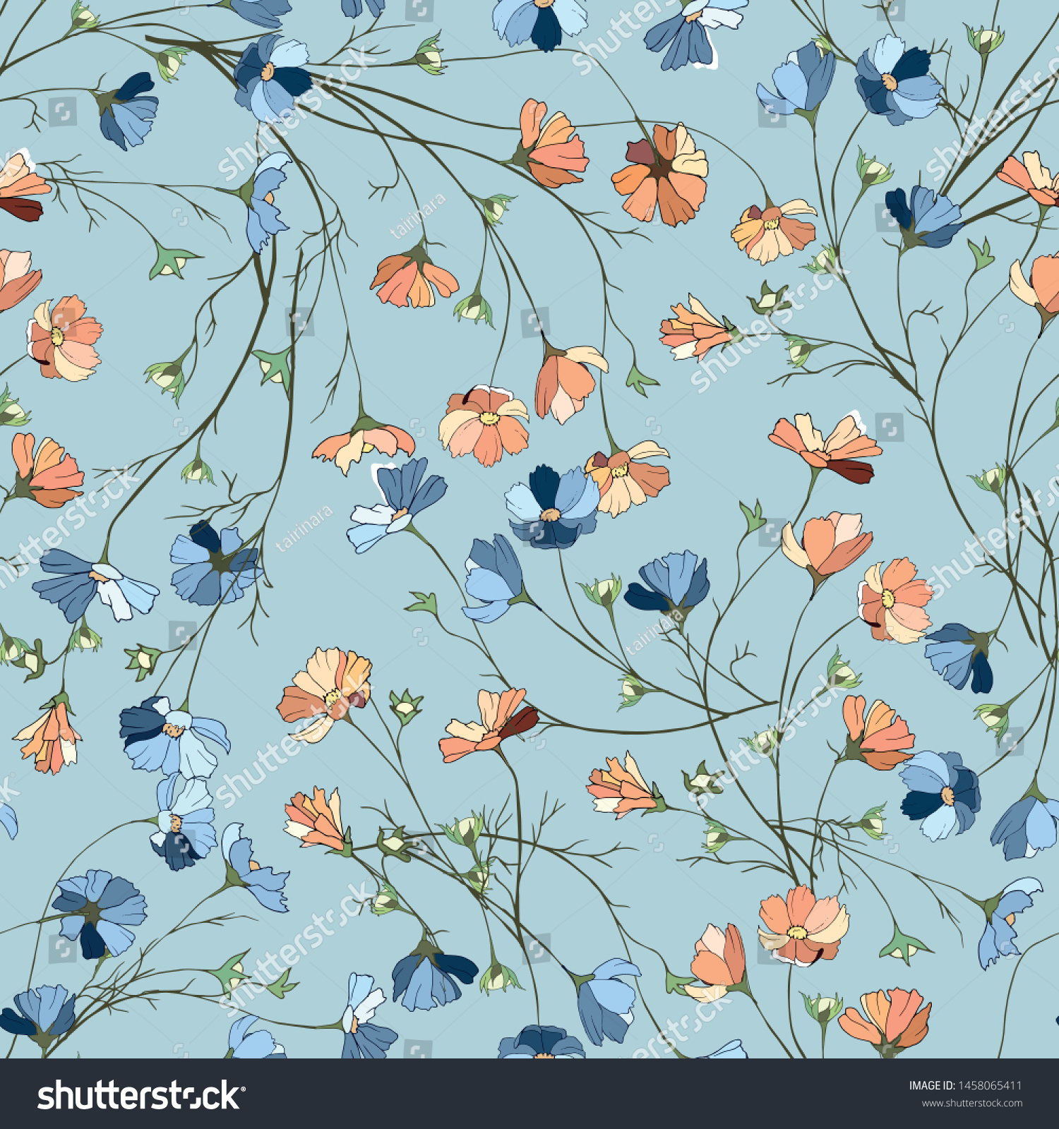 Simple Floral Background Flowers On Blue Stock Vector Royalty