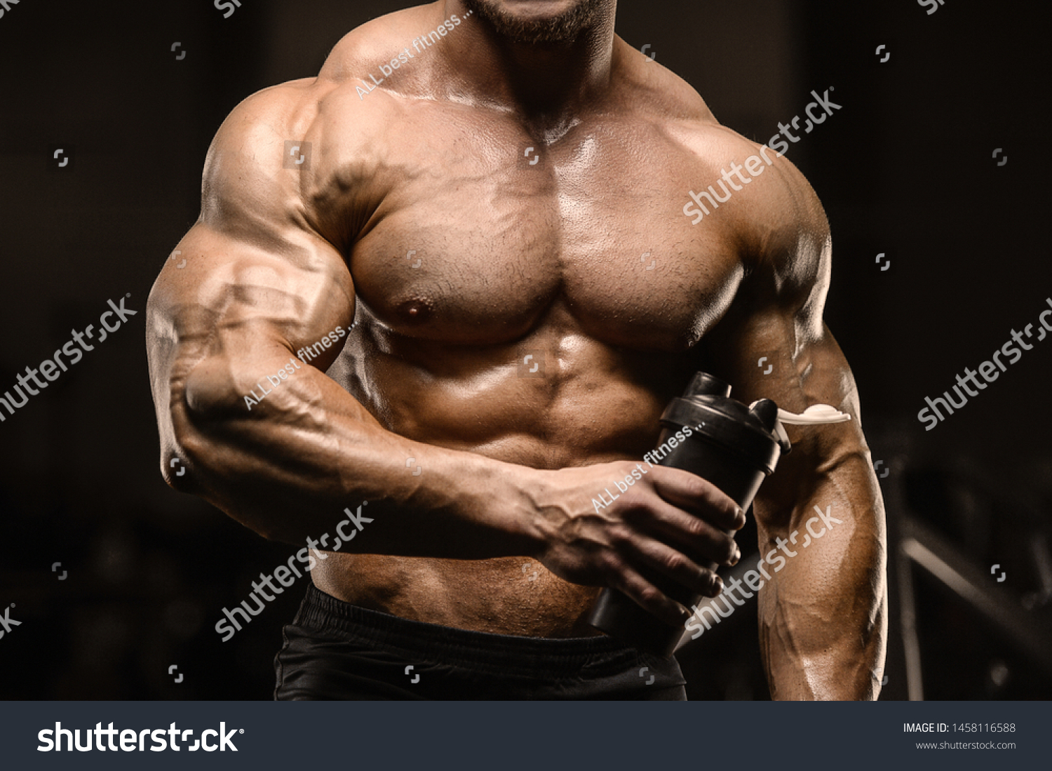 Sport Muscular Fitness Man Drinking Water Stock Photo Edit Now 1458116588