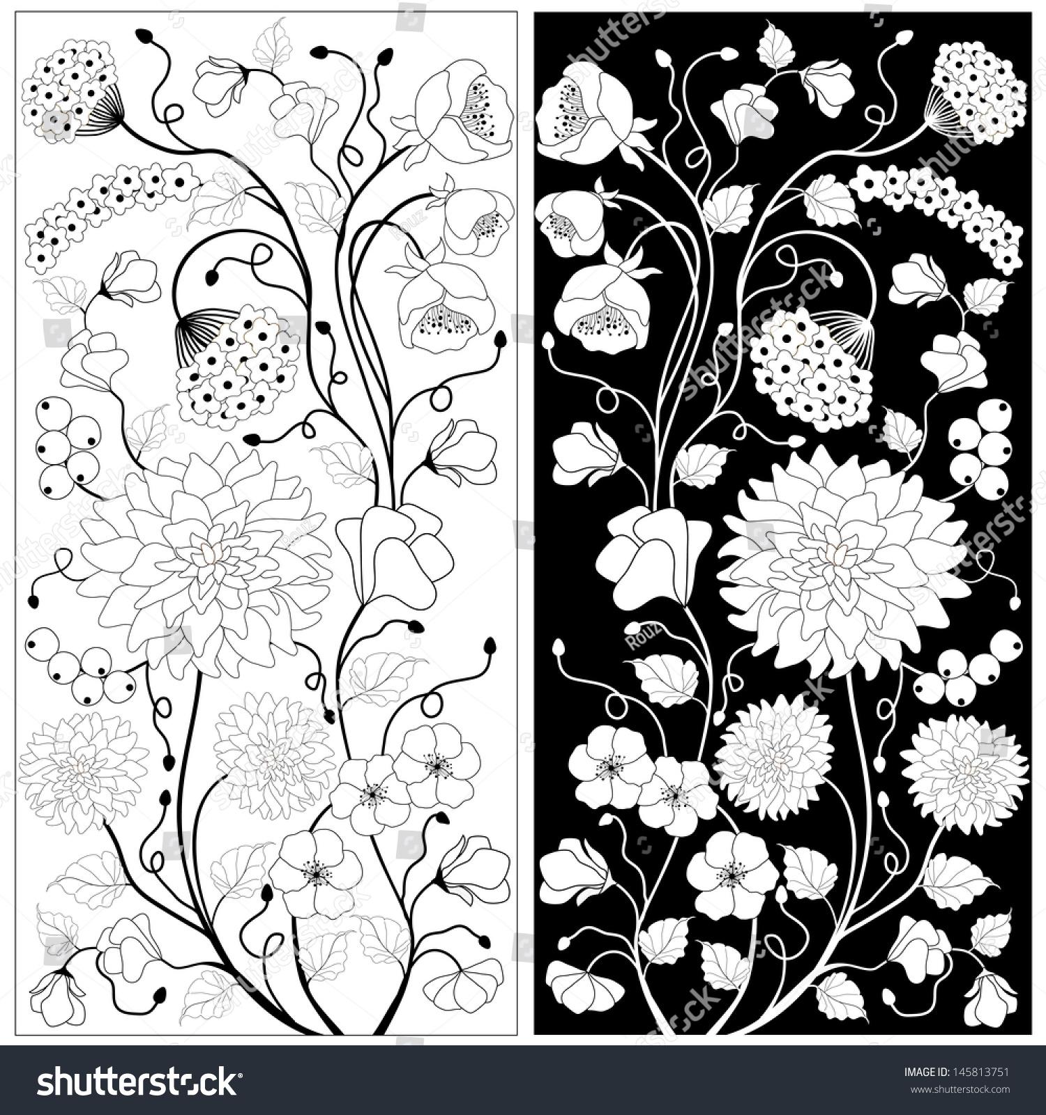 Black White Flowers Stock Vector Royalty Free 145813751 Shutterstock