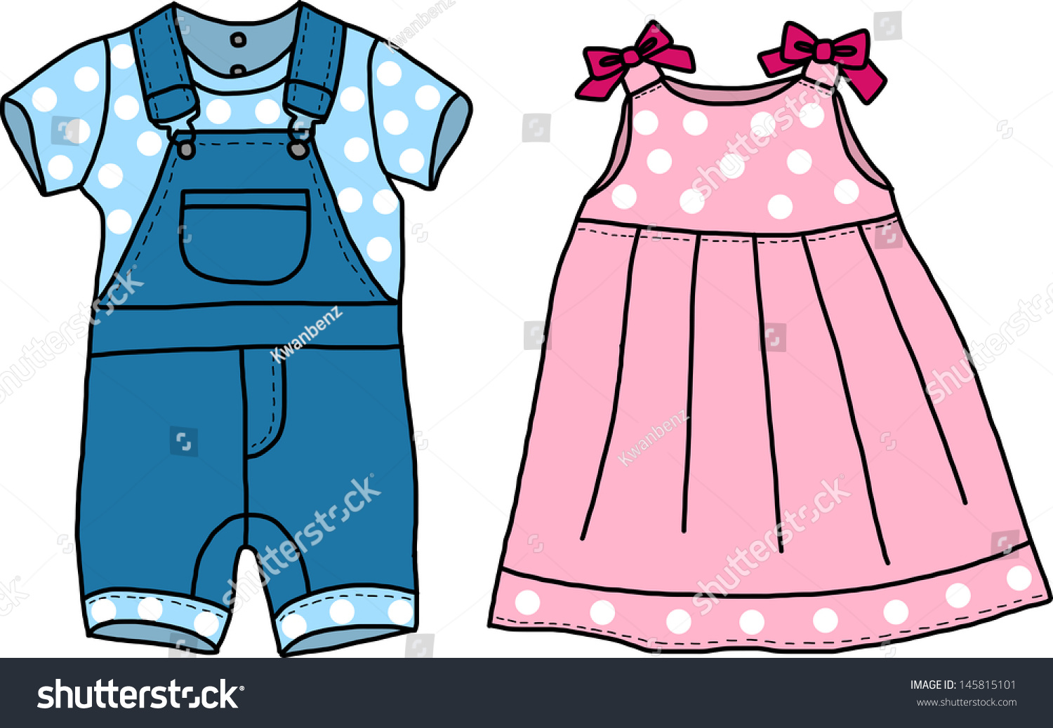 Pink Blue Baby Clothes Stock Vector 145815101 Shutterstock