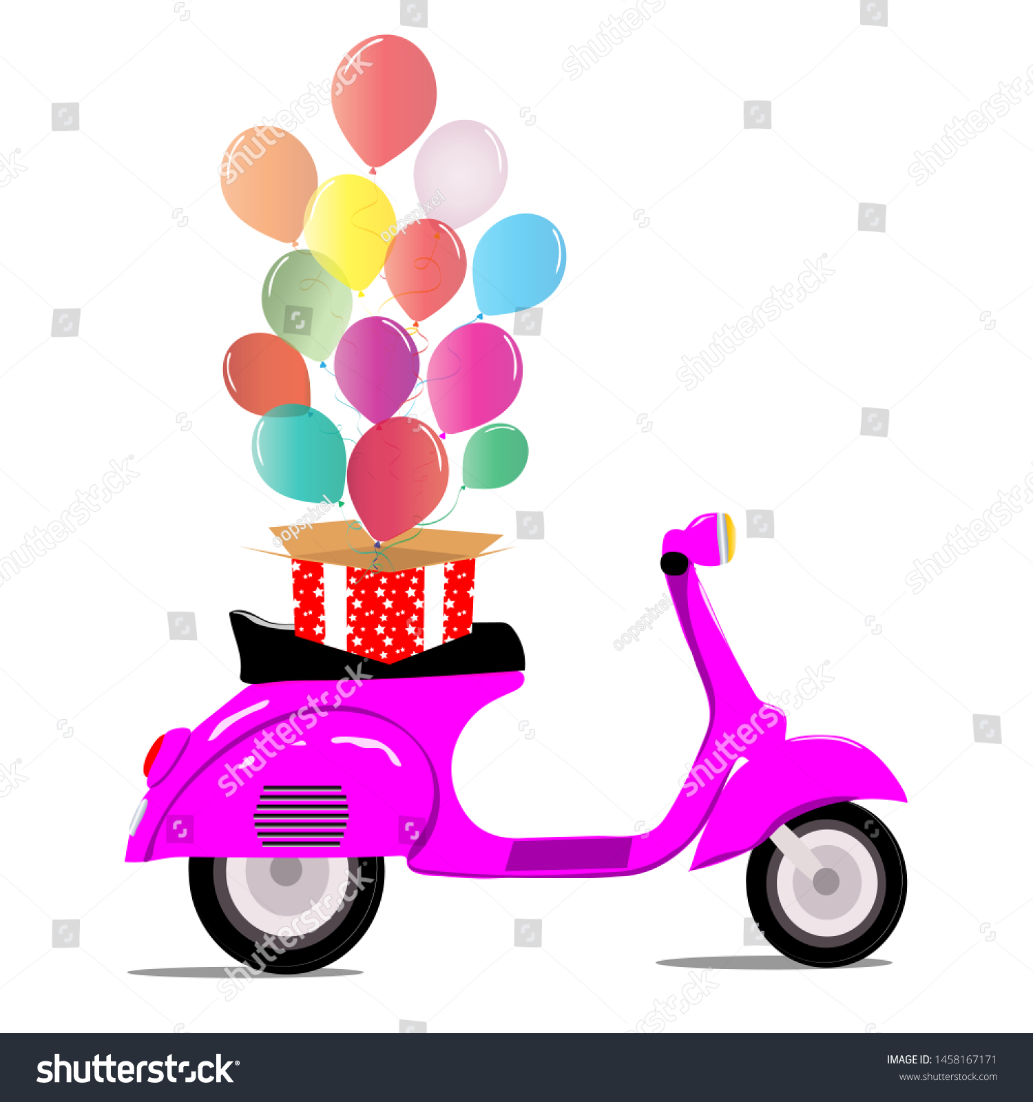 balloons fly out box purple scooter stock vector royalty free 1458167171 shutterstock