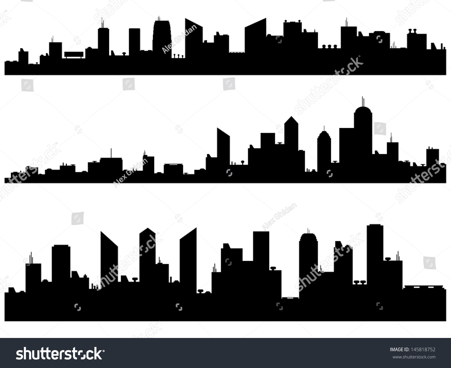 City Silhouettes Illustrated On White Stock Vector ...