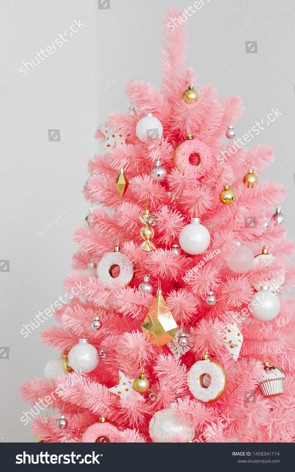 Pink Christmas Tree Christmas Decorations White Stock Photo Edit Now 1458341114