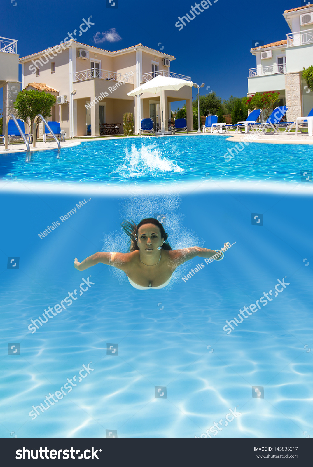 Woman Diving Underwater Swimming Pool Stock Photo 145836317 Shutterstock