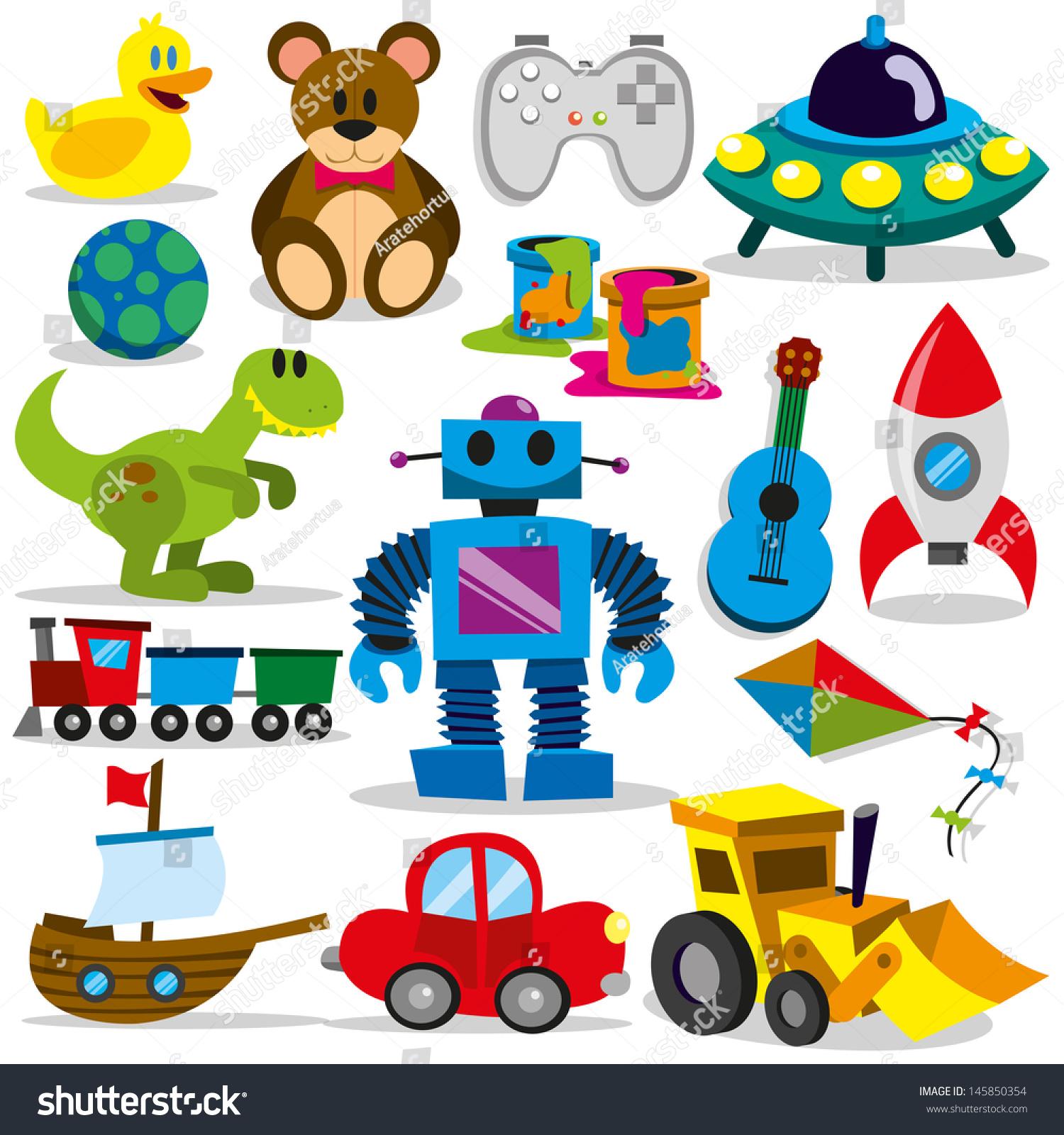 Little Boy Toys Clip Art : Set different cartoon vector toys stock