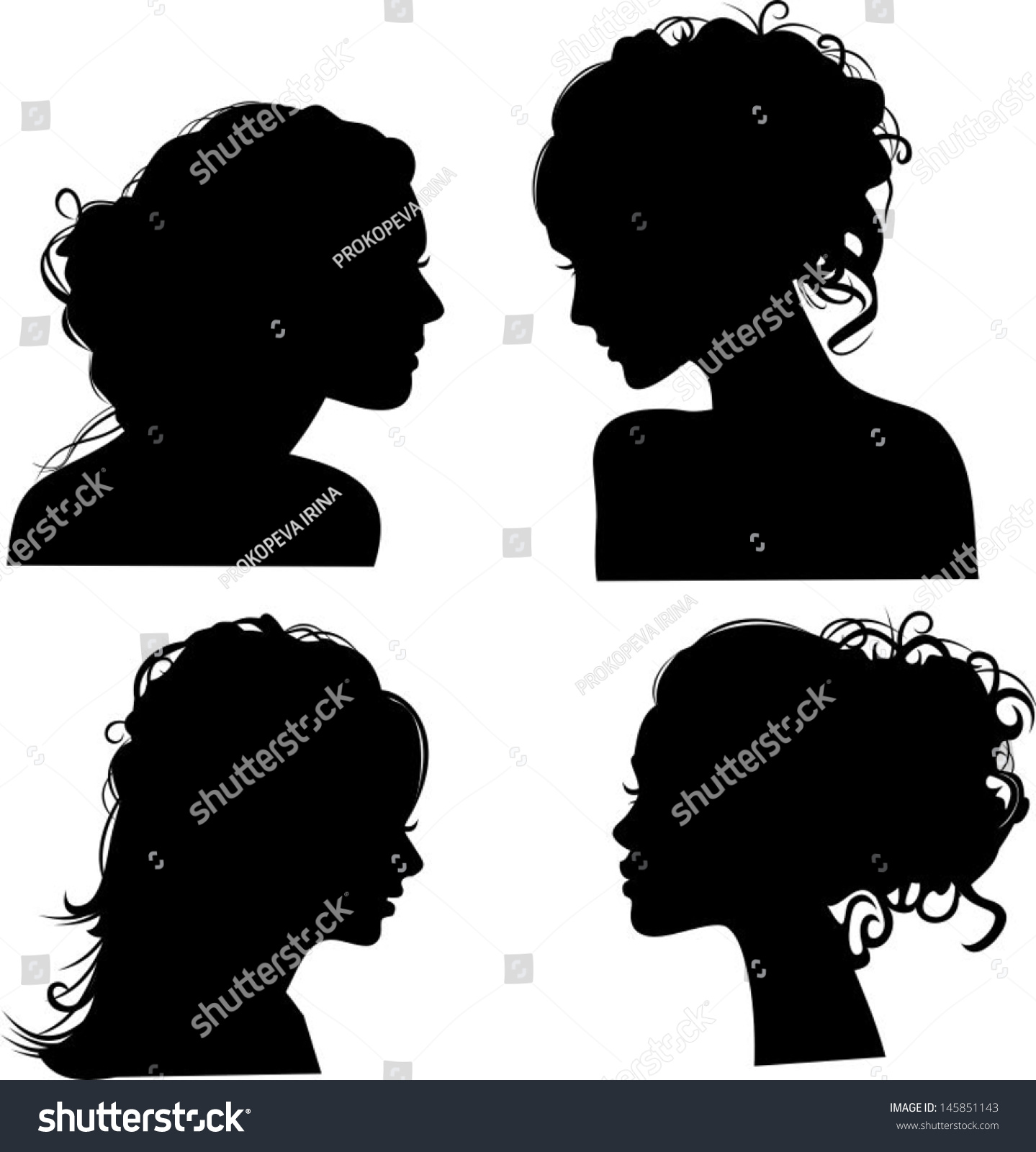 vector silhouettes girls hairstyles stock vector 145851143