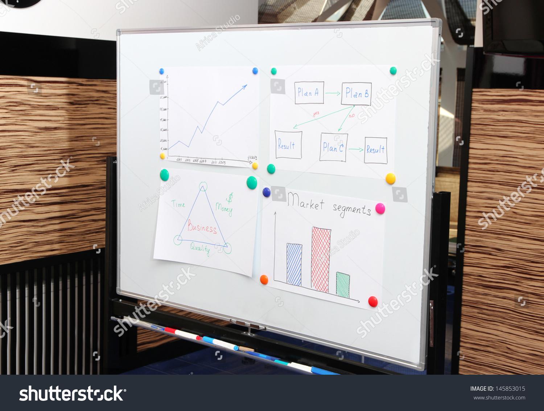 Whiteboard plots ideas meeting room office stock photo for Office whiteboard ideas
