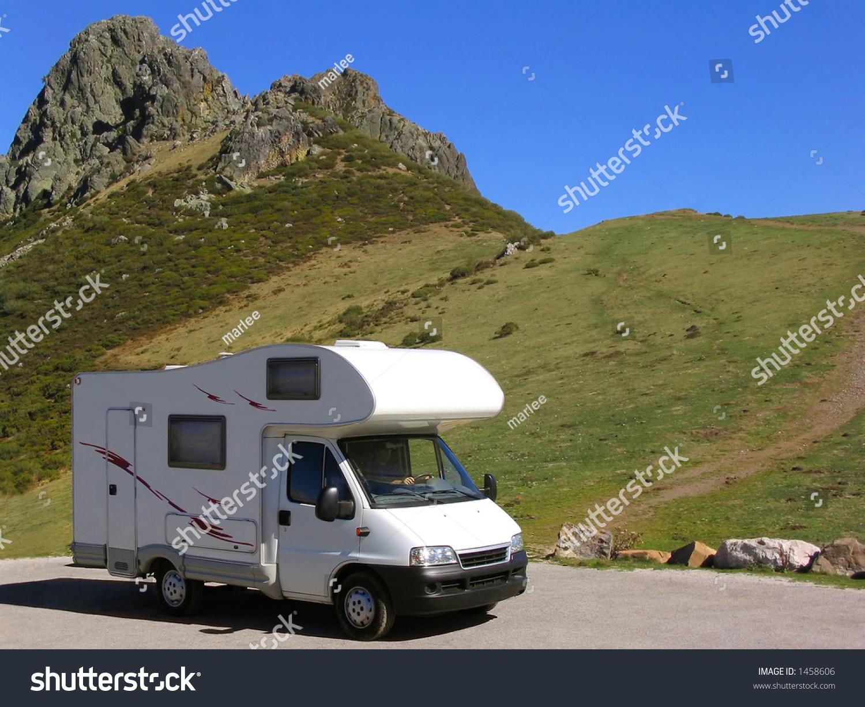 Motorhome Parked Mountain Near Rocky Peak Stock Photo
