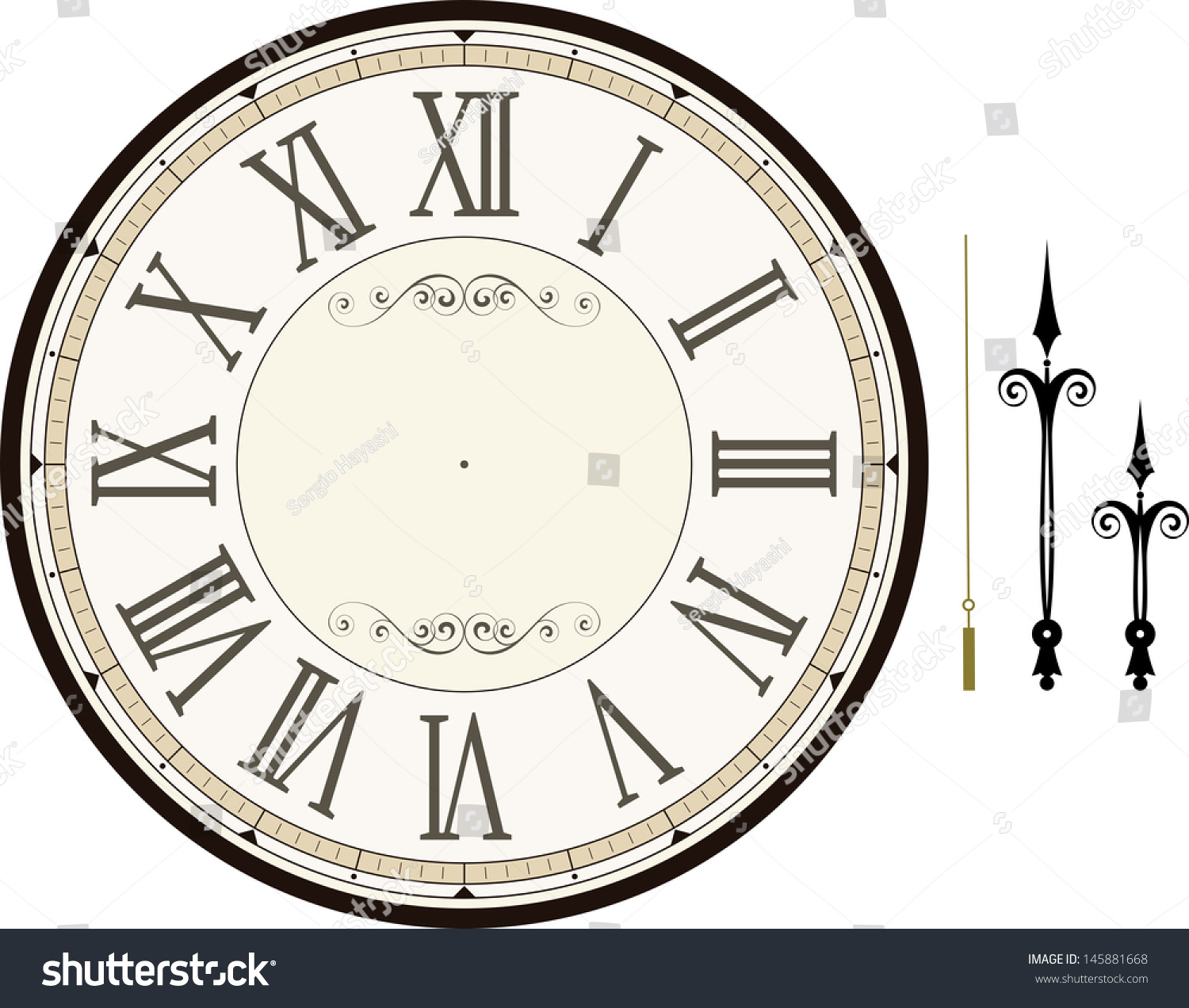 worksheet Clock Face Template vintage clock face template hour minute stock vector 145881668 with and second hands to make your own time