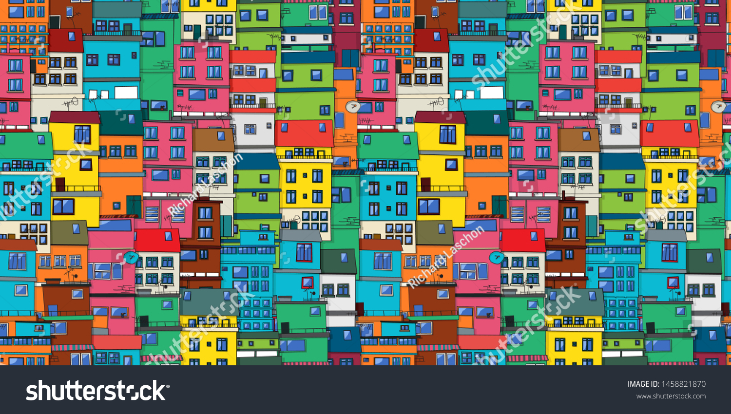 Urban background in colors, seamless vector pattern with Brazilian favela, slum.