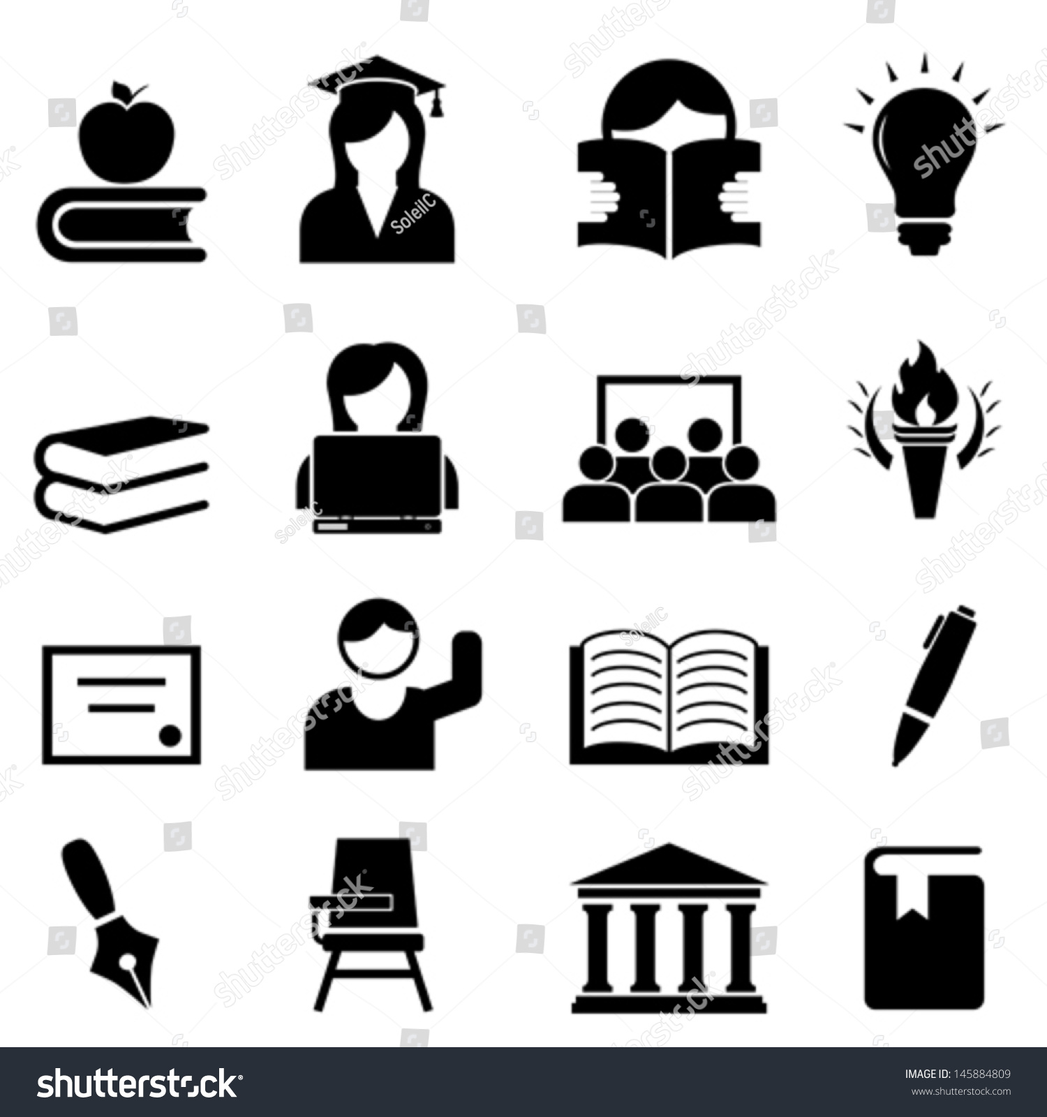College Higher Education Icon Set Stock Vector 145884809 ...