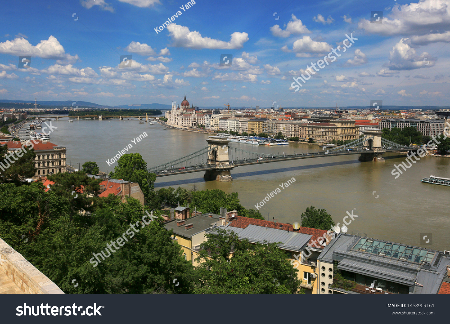 Beautiful view of the city of Budapest in Hungary on a sunny summer day #1458909161