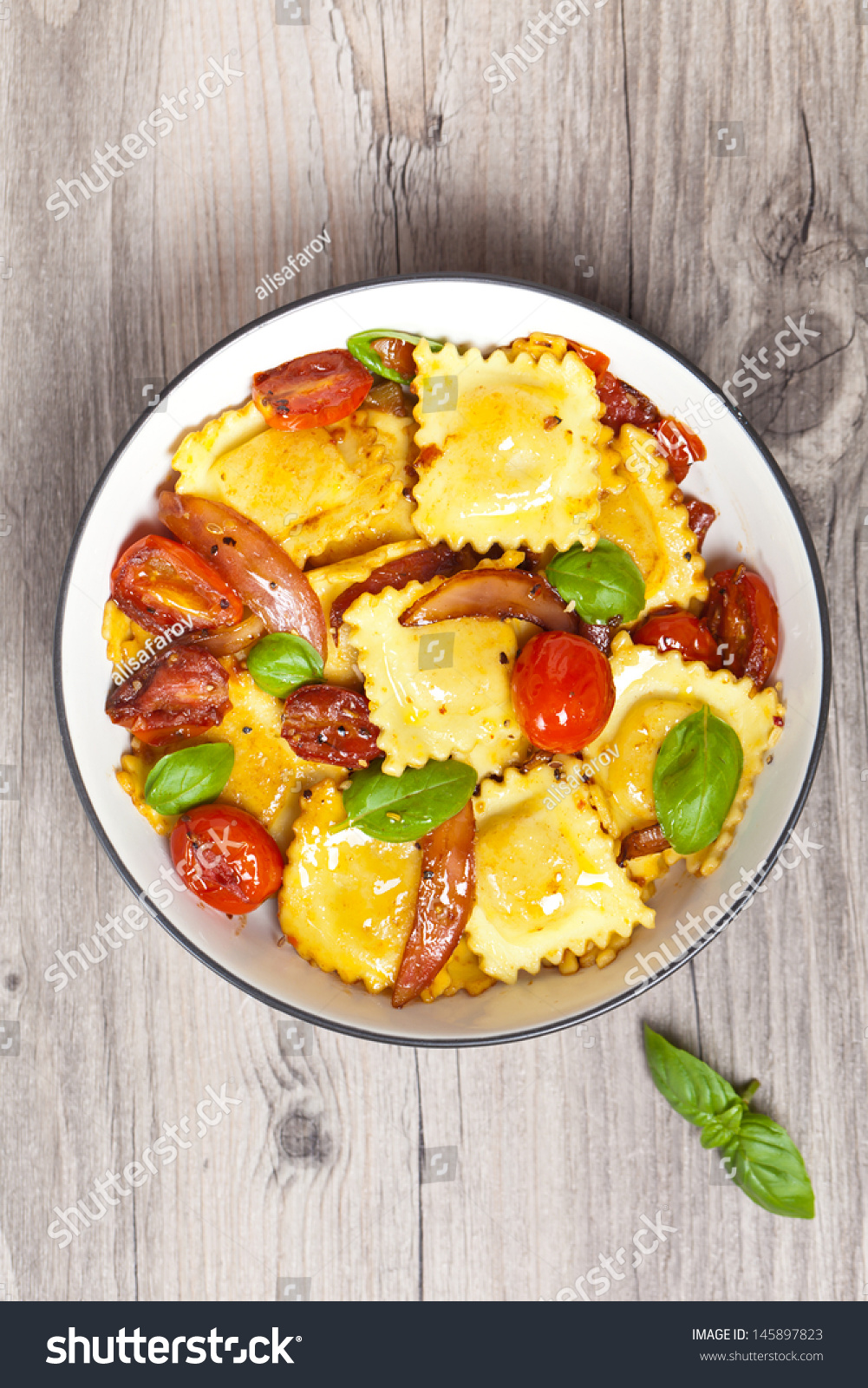 Ravioli With Ricotta, Tomatoes And Basil Stock Photo ...