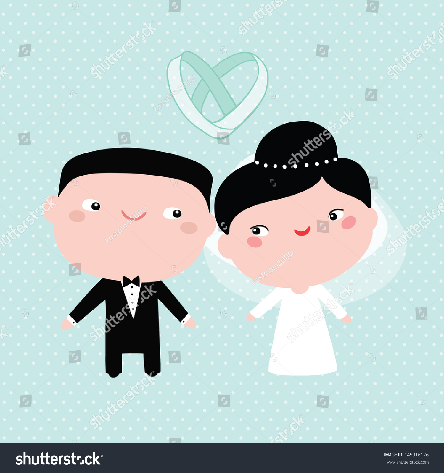 Cute Asian Wedding Couple Rings Stock Vector 145916126 - Shutterstock
