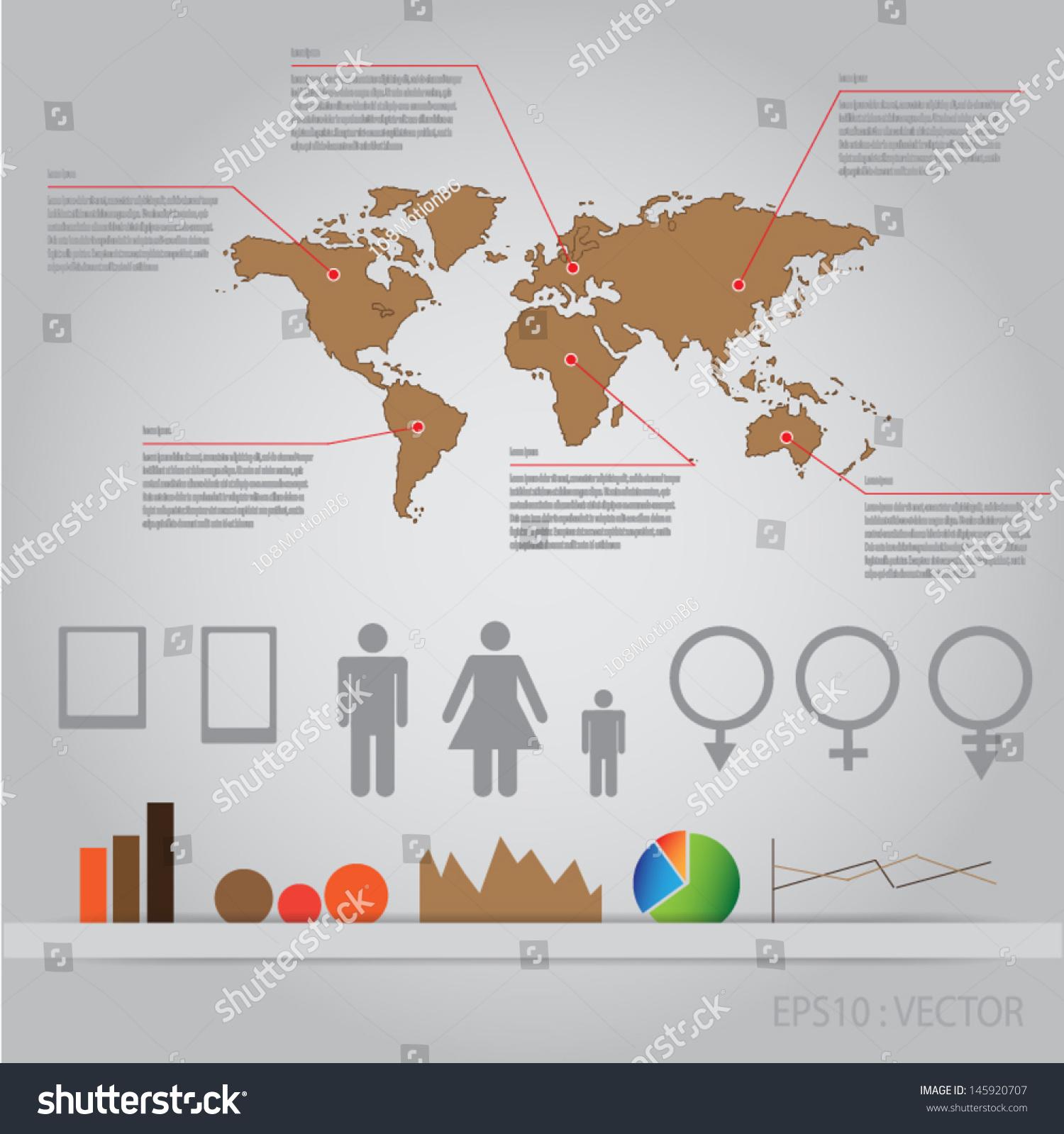 Infographics world map man woman graphvector stock vector infographics world map with man woman graphvector gumiabroncs Gallery