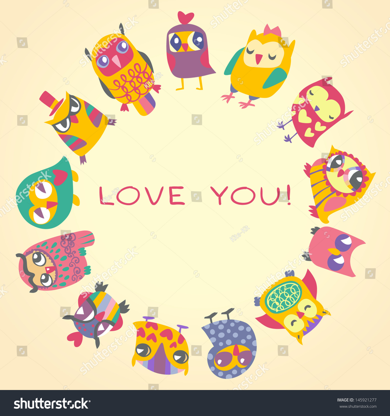 Stock Vector Owls Cute