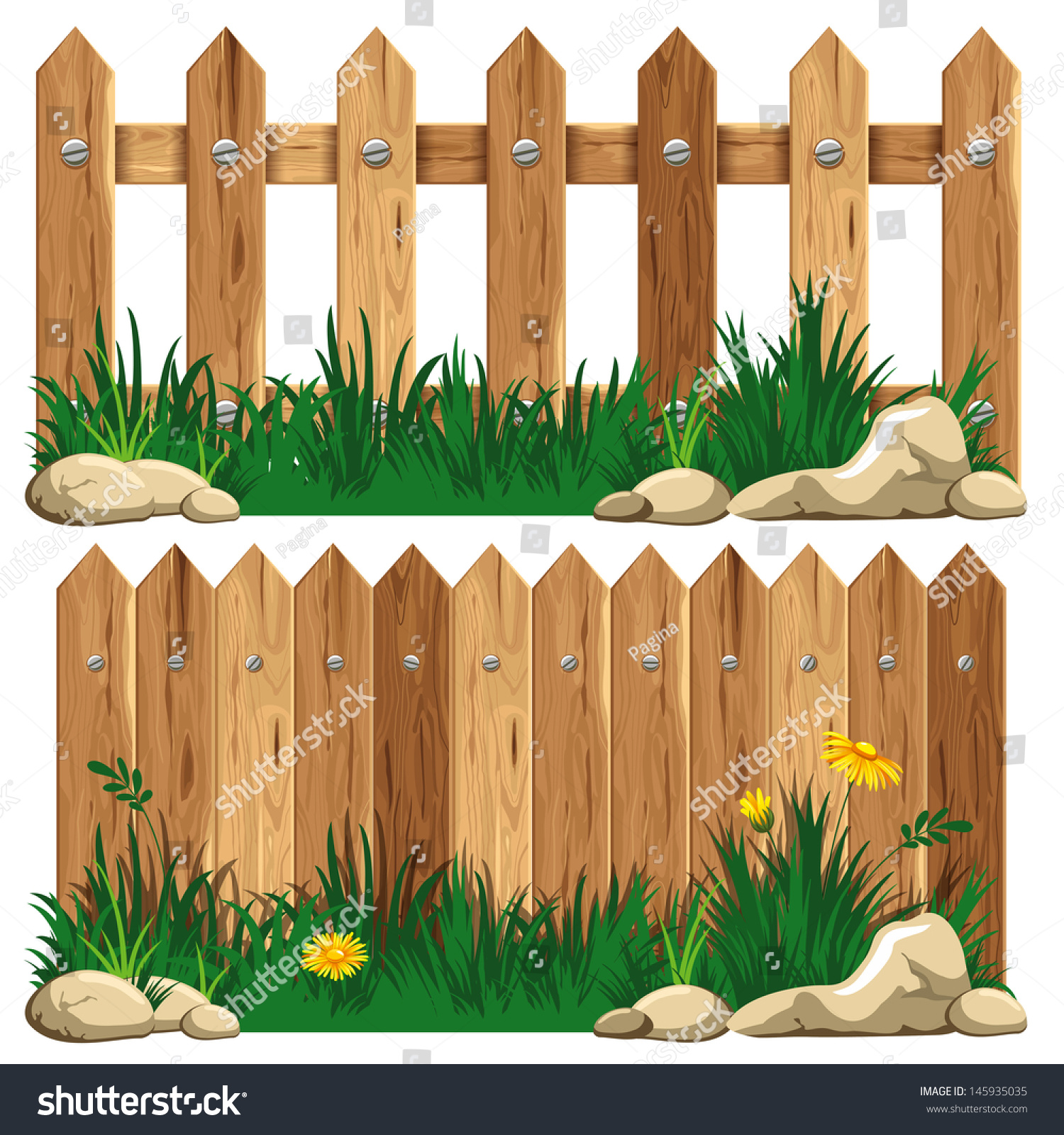 Wooden fence grass vector illustration stock