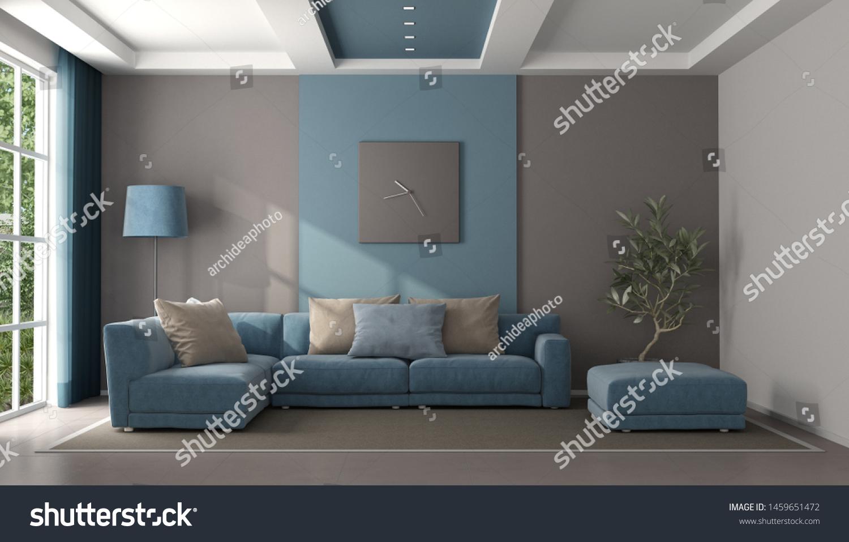 Minimalist Blue Brown Living Room Sofa Stock Illustration 1459651472