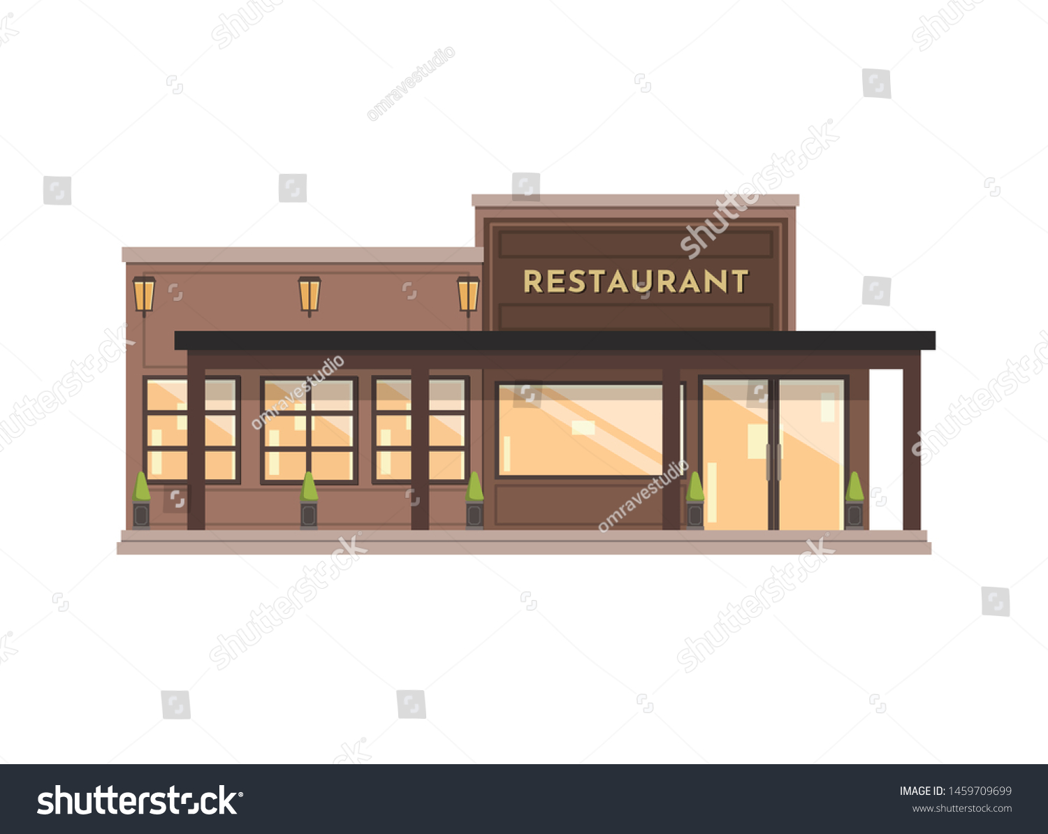 Restaurant Building Illustration Concept Design Stock Vector Royalty Free 1459709699