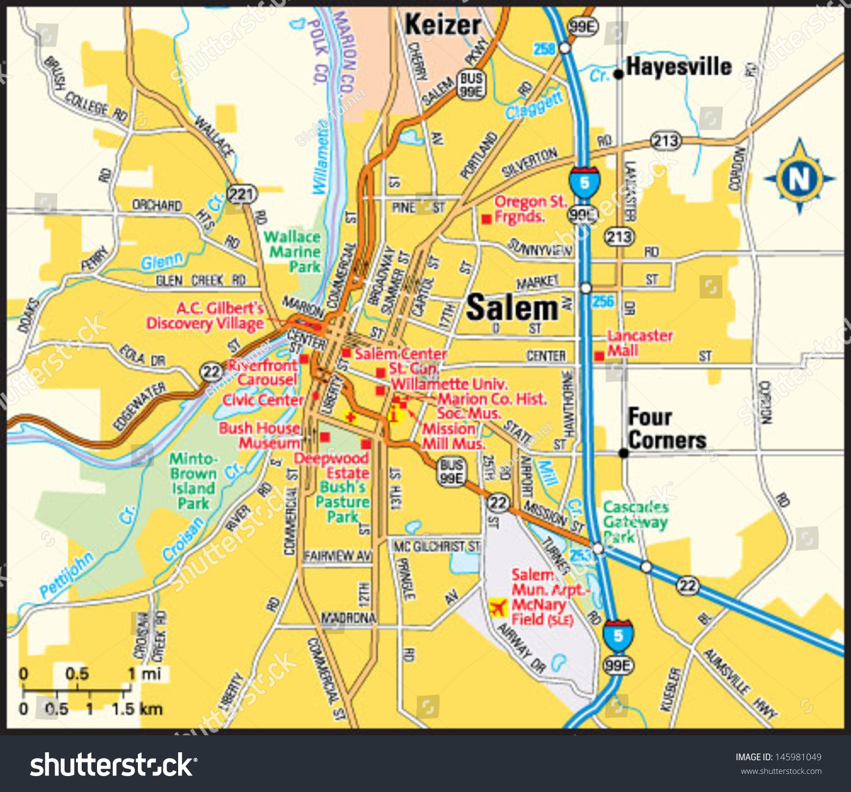 Koppes Birdseye Map Of Salem Oregon  Salem Oregon Area Map - Map of four corners area usa