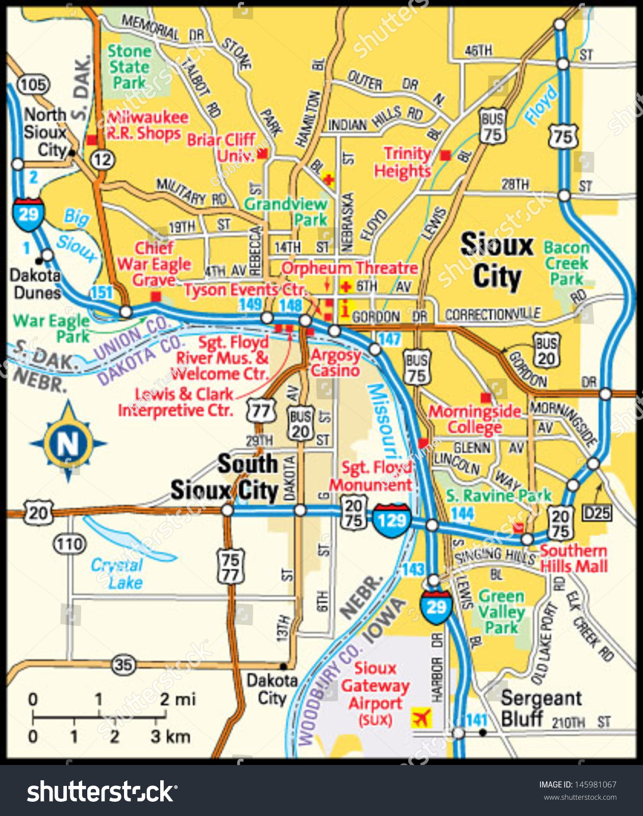 Sioux City Iowa Area Map Stock Vector Royalty Free 145981067