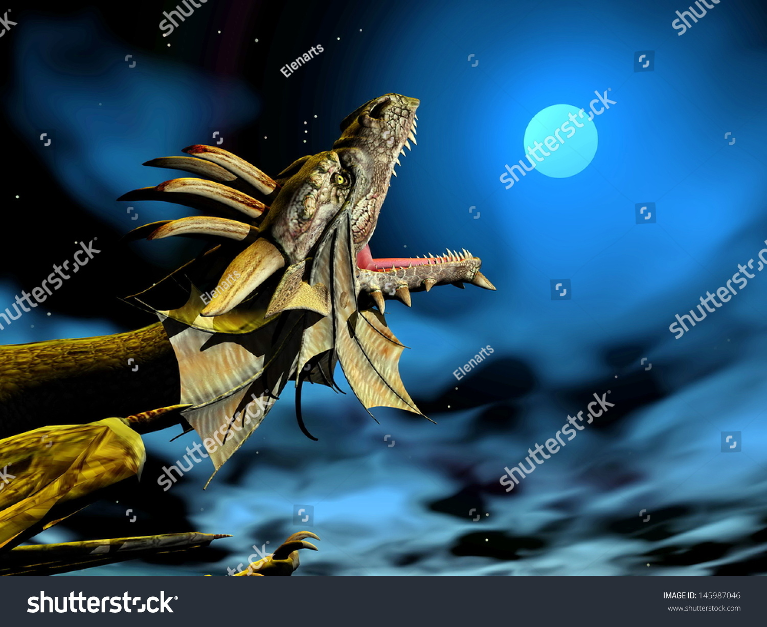 Full Moon Dragon: Head Of Dragon Mouth Wide Open At Full Moon By Night Stock