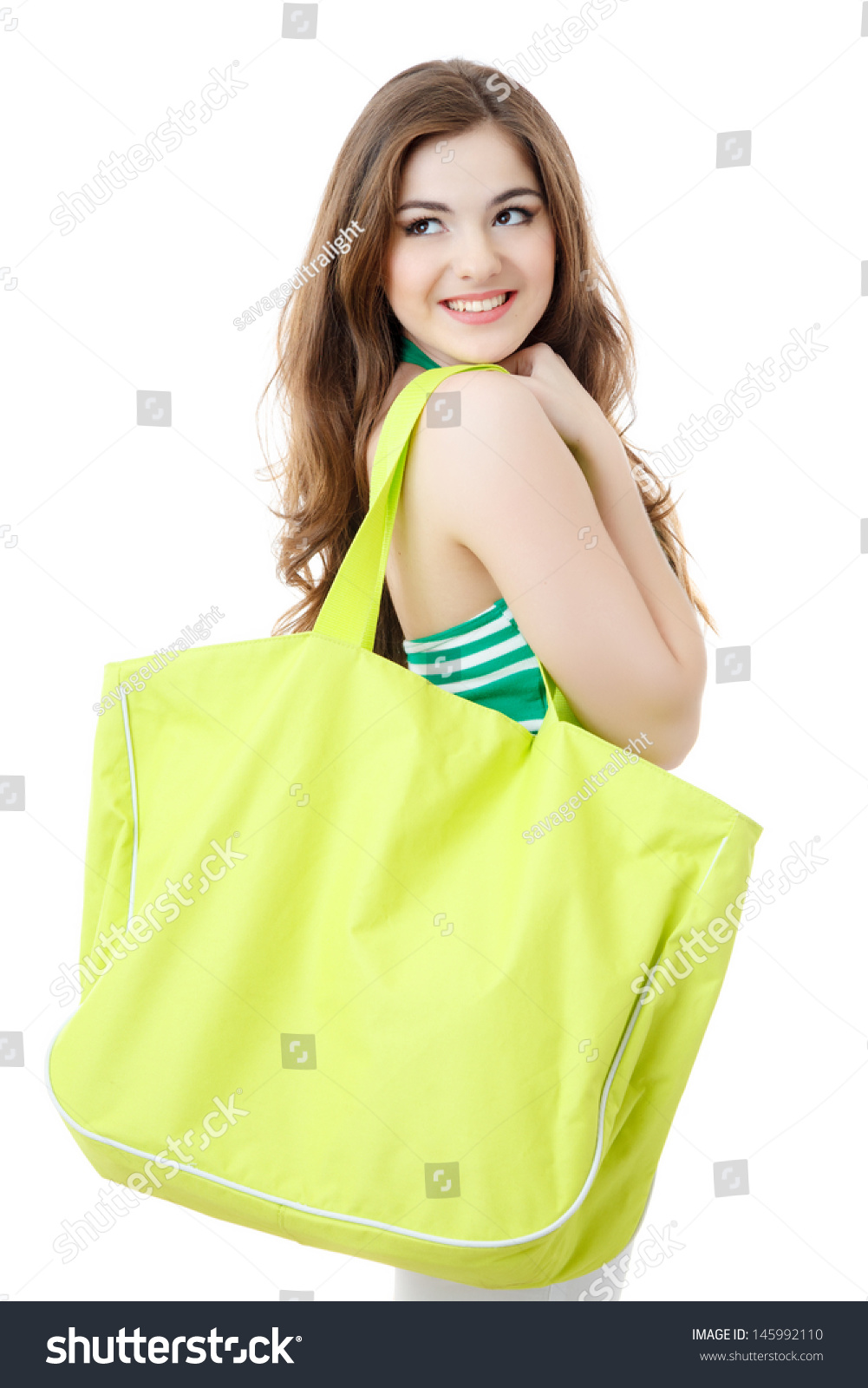 Young Woman Big Green Bag Over Stock Photo 145992110 - Shutterstock
