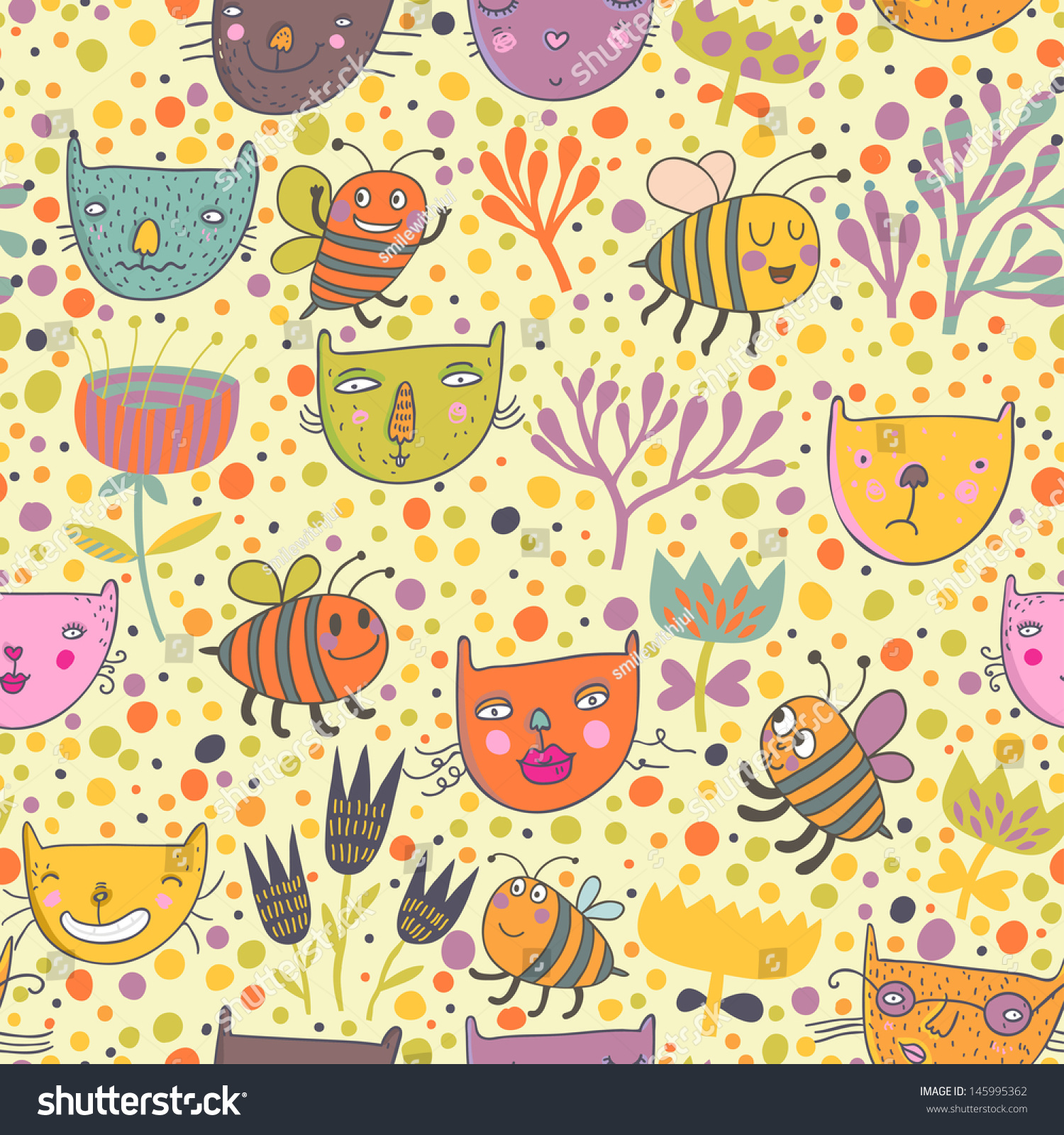 Cute Seamless Pattern With Funny Cats And Bees In Flower Garden Vector Spring Texture