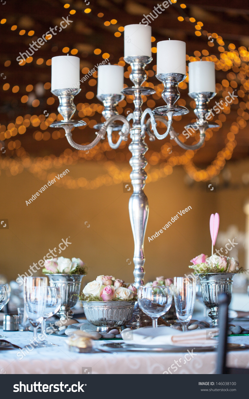 Wedding Reception Hall With Decorated Tables Selective Focus Blurred Fairy Lights In Background