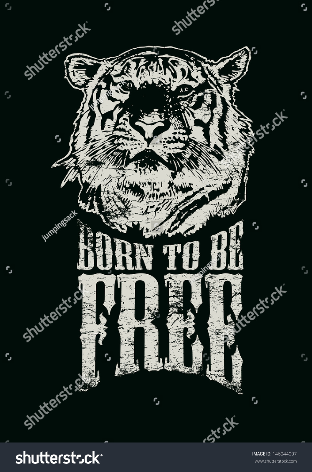 Free poster design and print - Retro Design Born To Be Free For Poster Or T Shirt Print With