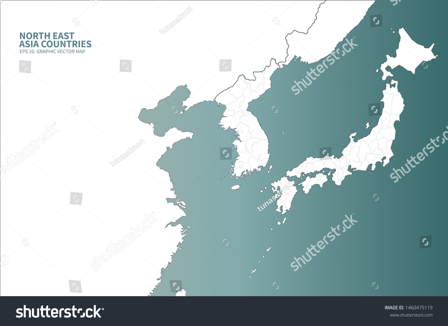 Graphic Vector East Sea Map Korea Stock Vector Royalty Free 1460475119