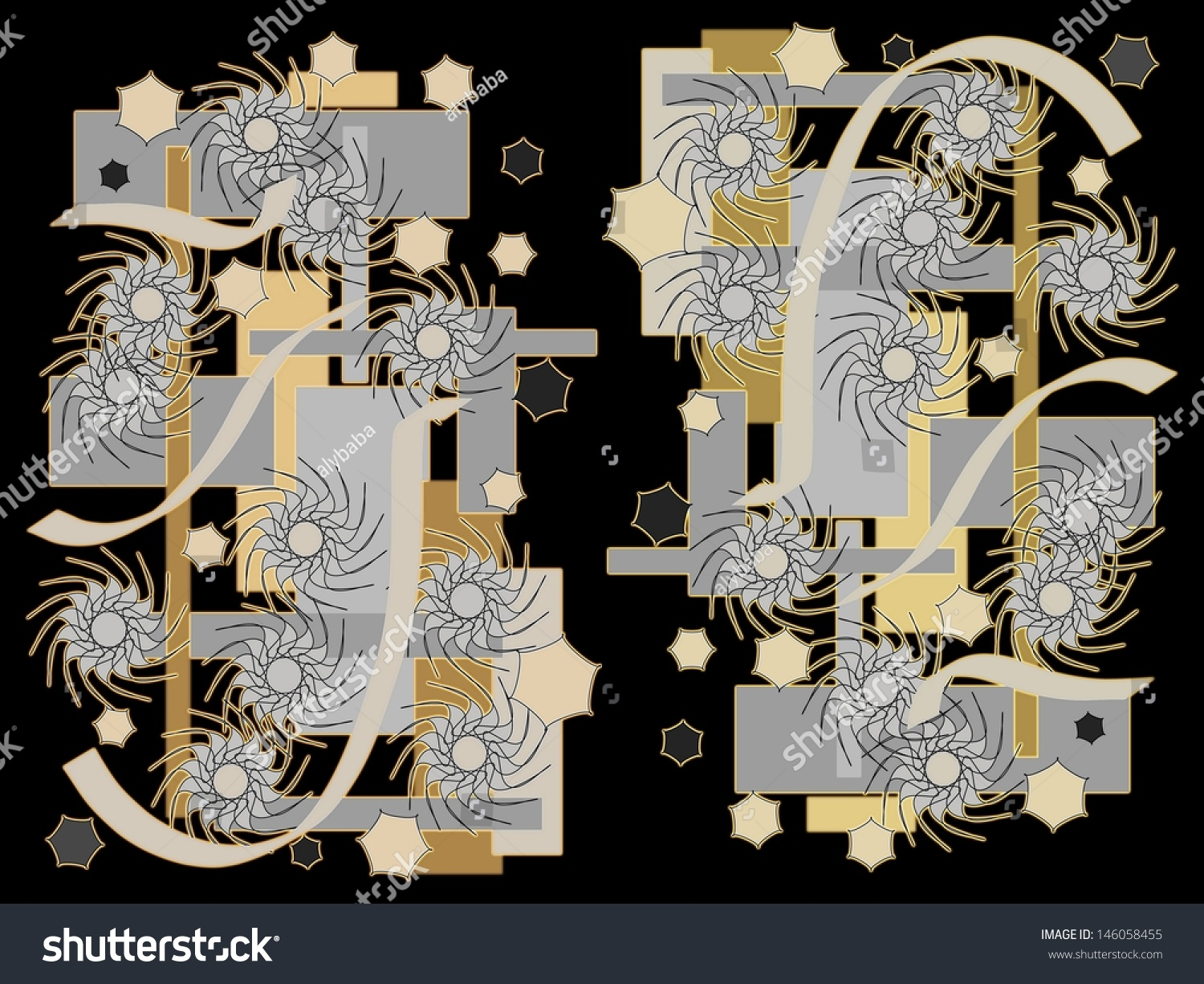 Bright Colorful Modern Abstract Design With Geometric And Floral Motifs  Superimposed On A Black Background To