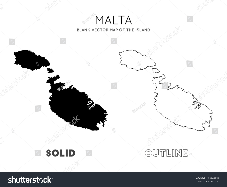 Malta Map Blank Vector Map Island Stock Vector Royalty Free 1460625566