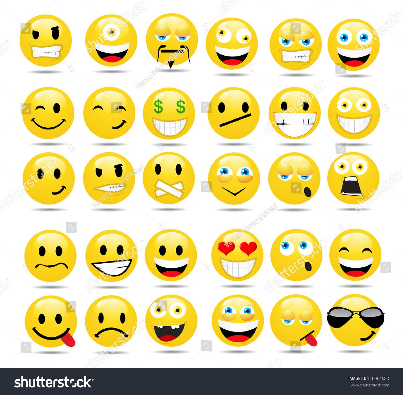 Vector Set Glossy Emoticons Stock Vector 146064680 - Shutterstock