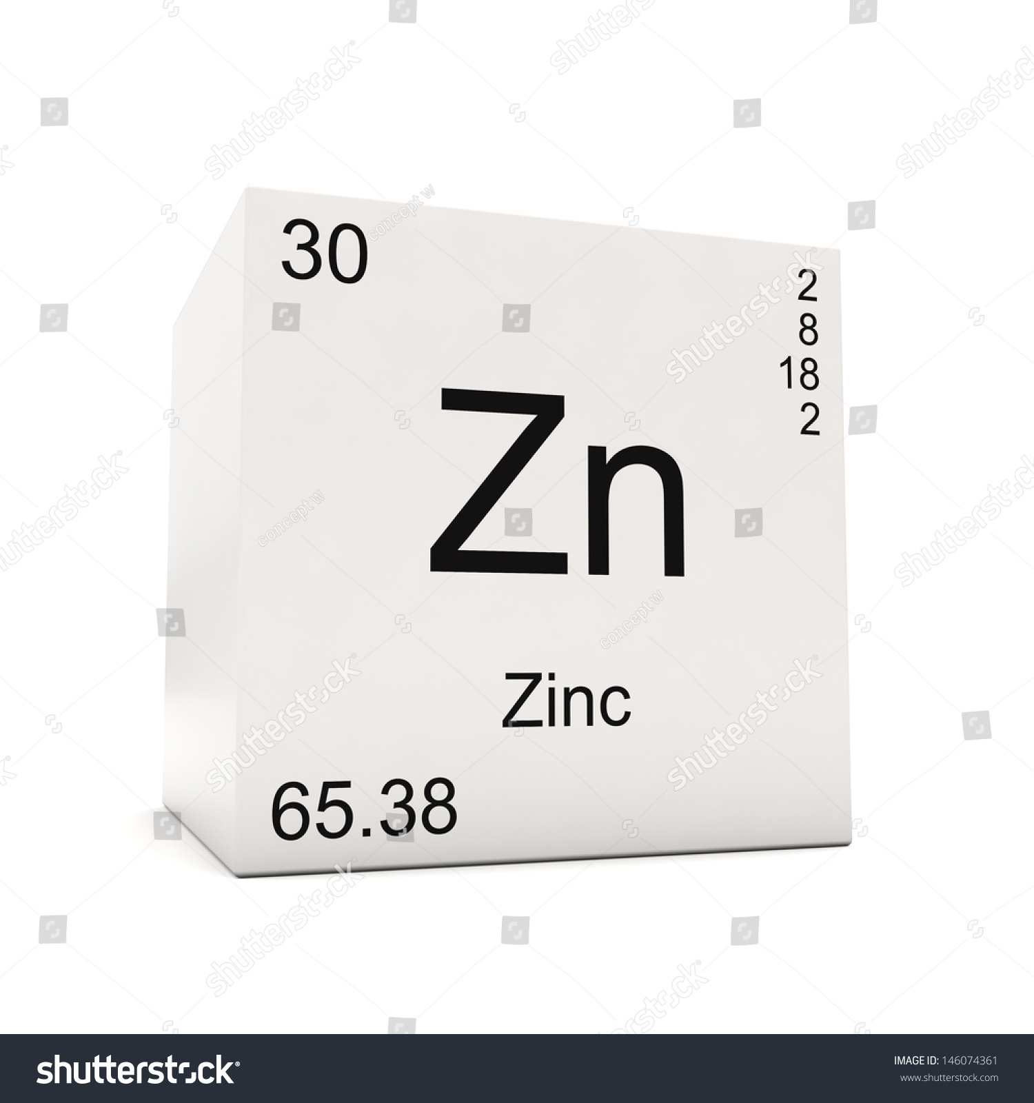 Cube Zinc Element Periodic Table Isolated Stock Illustration ...