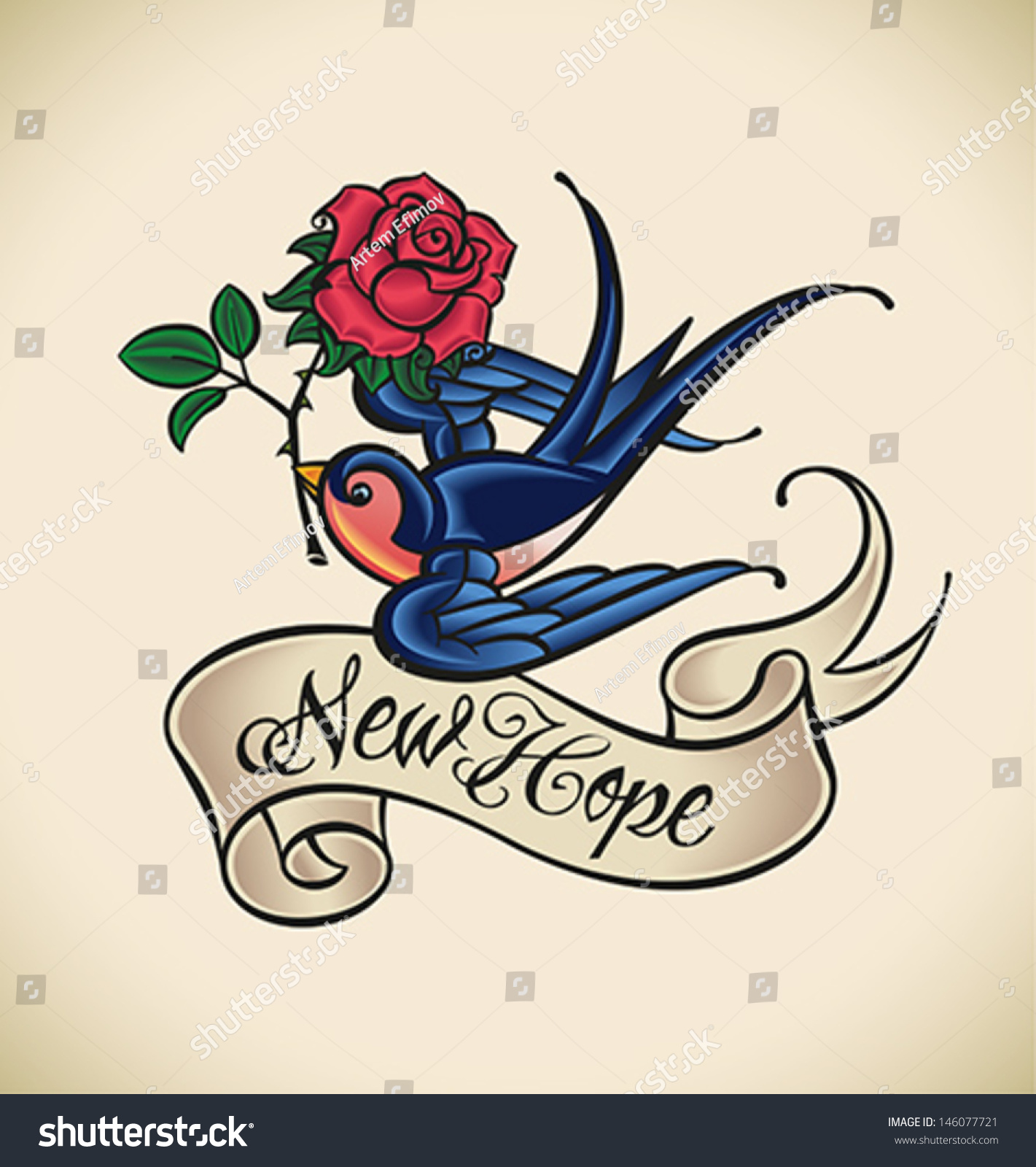 oldschool styled tattoo swallow banner rose stock vector. Black Bedroom Furniture Sets. Home Design Ideas