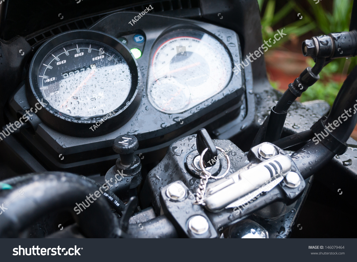 Motor Bike Odometer Fuel Meter Tachometer Stock Photo