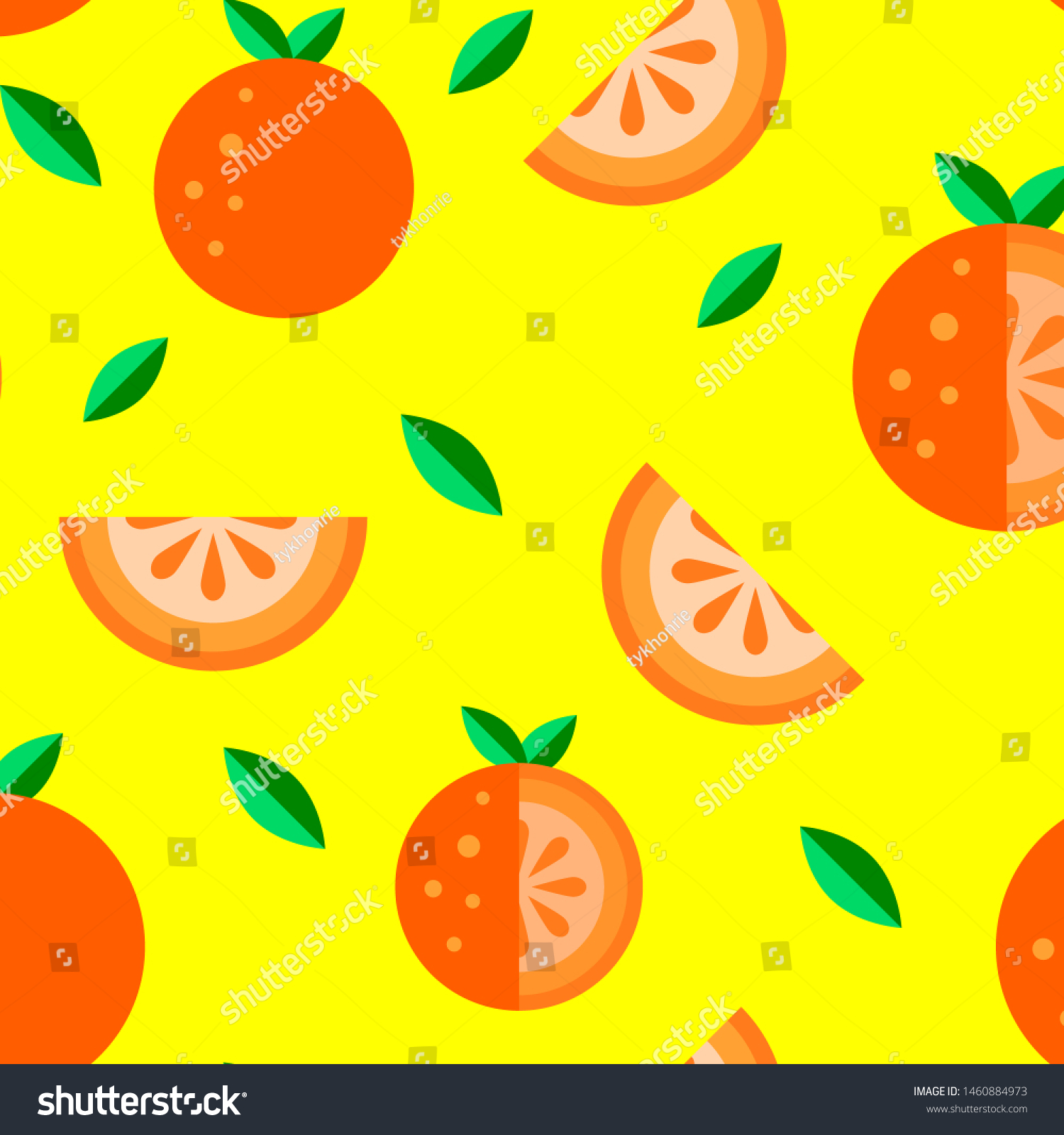Orange Tangerine fruit flat icon Seamless Pattern set yellow background. Cartoon summer food cute kawaii style. Funny doodle illustration. Whole slice,half fresh healthy fruits logo t shirt kids print