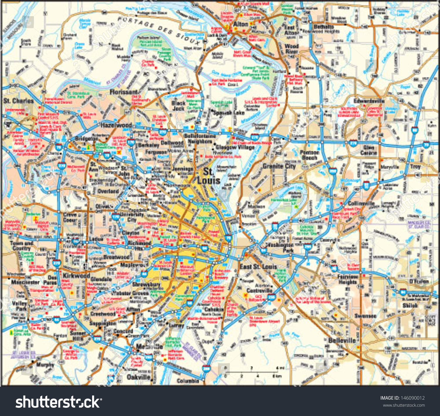 St Louis Missouri Area Map Stock Vector (Royalty Free) 146090012 ...
