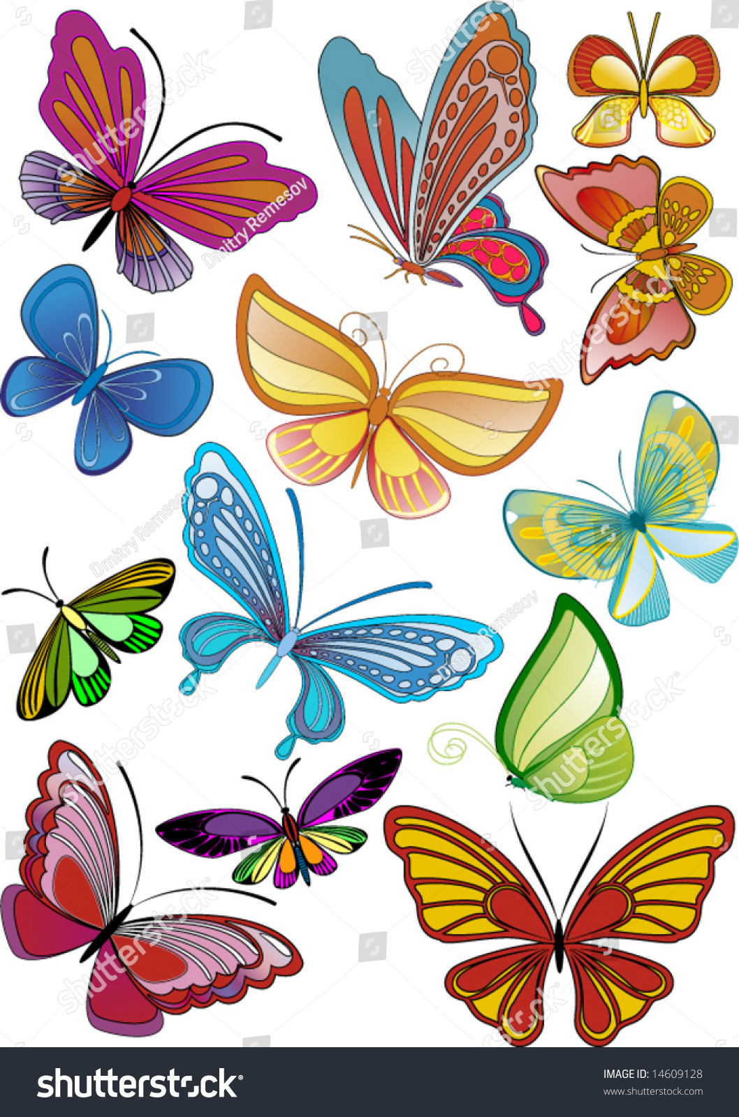 Different Colored Butterflies - Vector - 14609128 ...